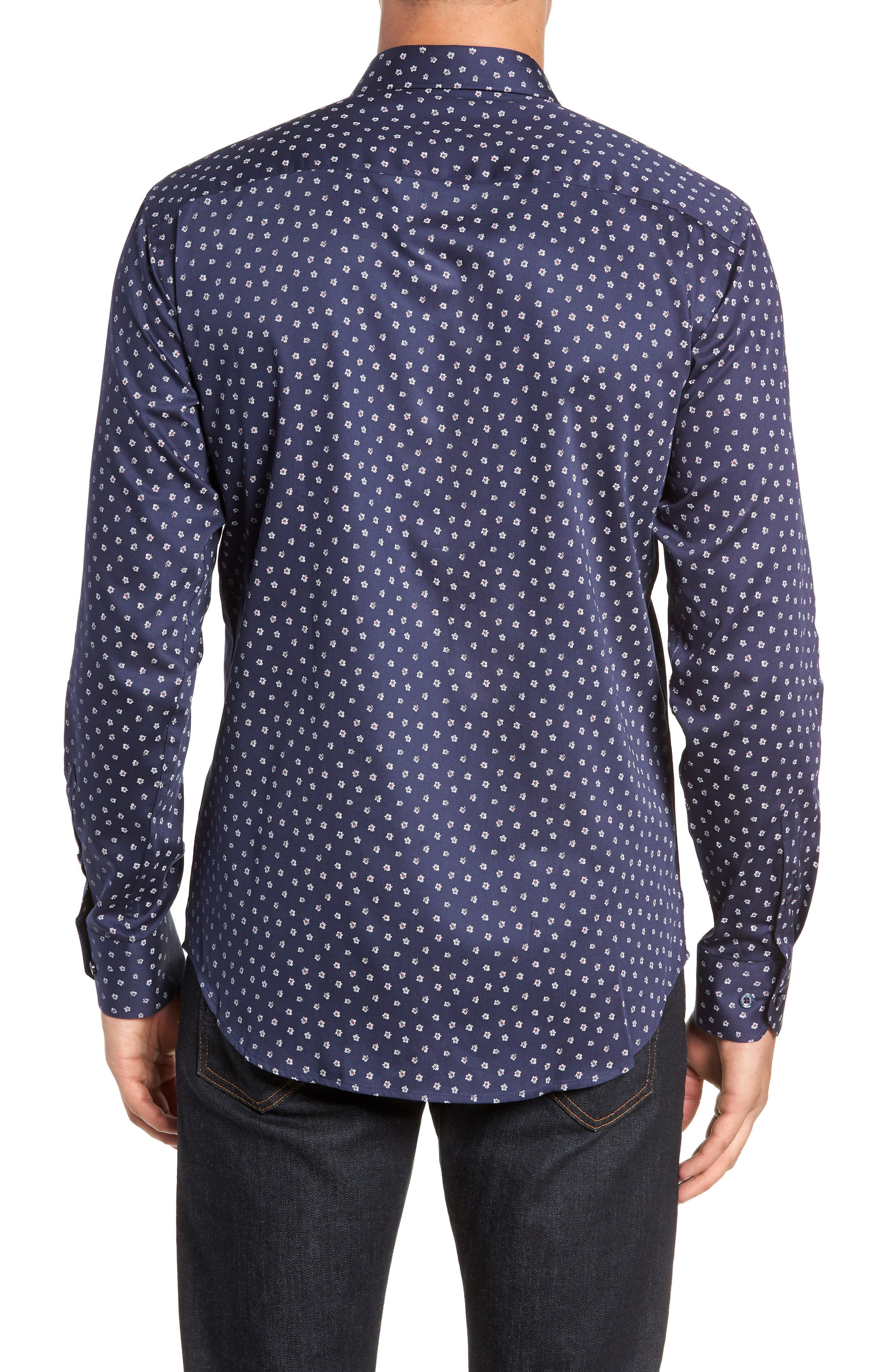 Shaped Fit Flower Print Sport Shirt,                             Alternate thumbnail 3, color,                             MIDNIGHT
