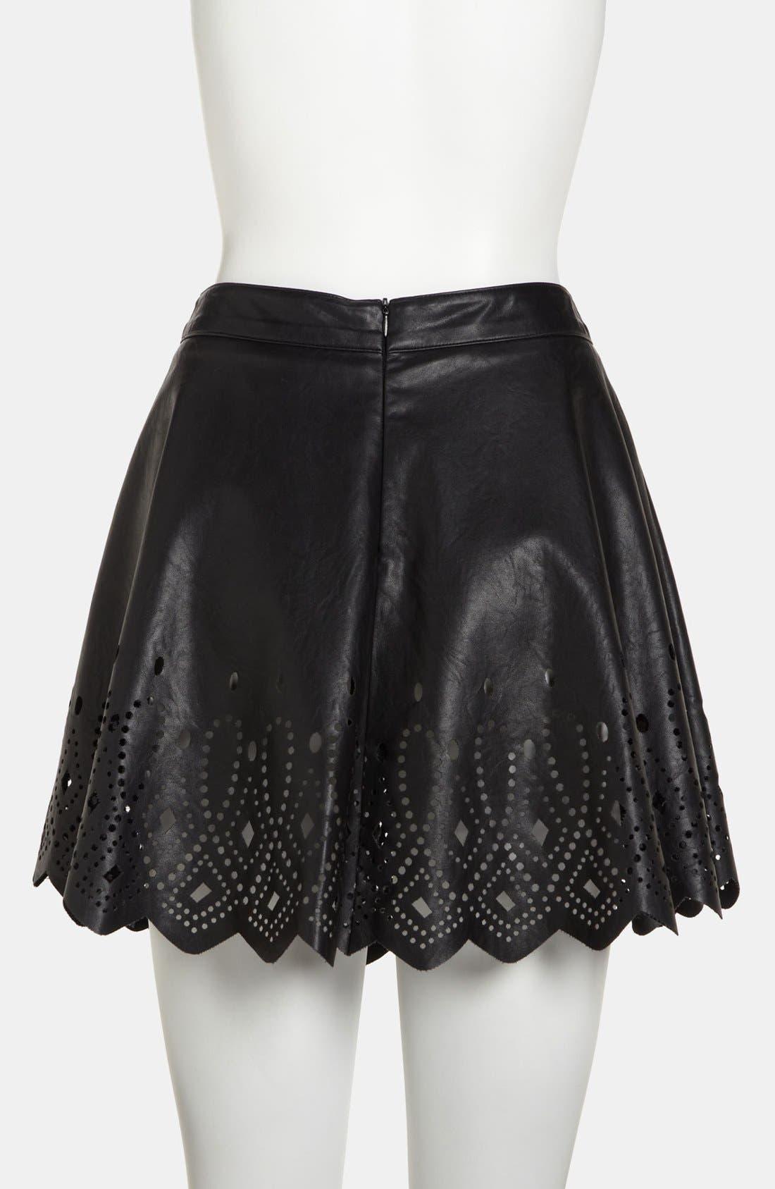 ASTR THE LABEL,                             ASTR Cutout Faux Leather Skirt,                             Alternate thumbnail 4, color,                             001