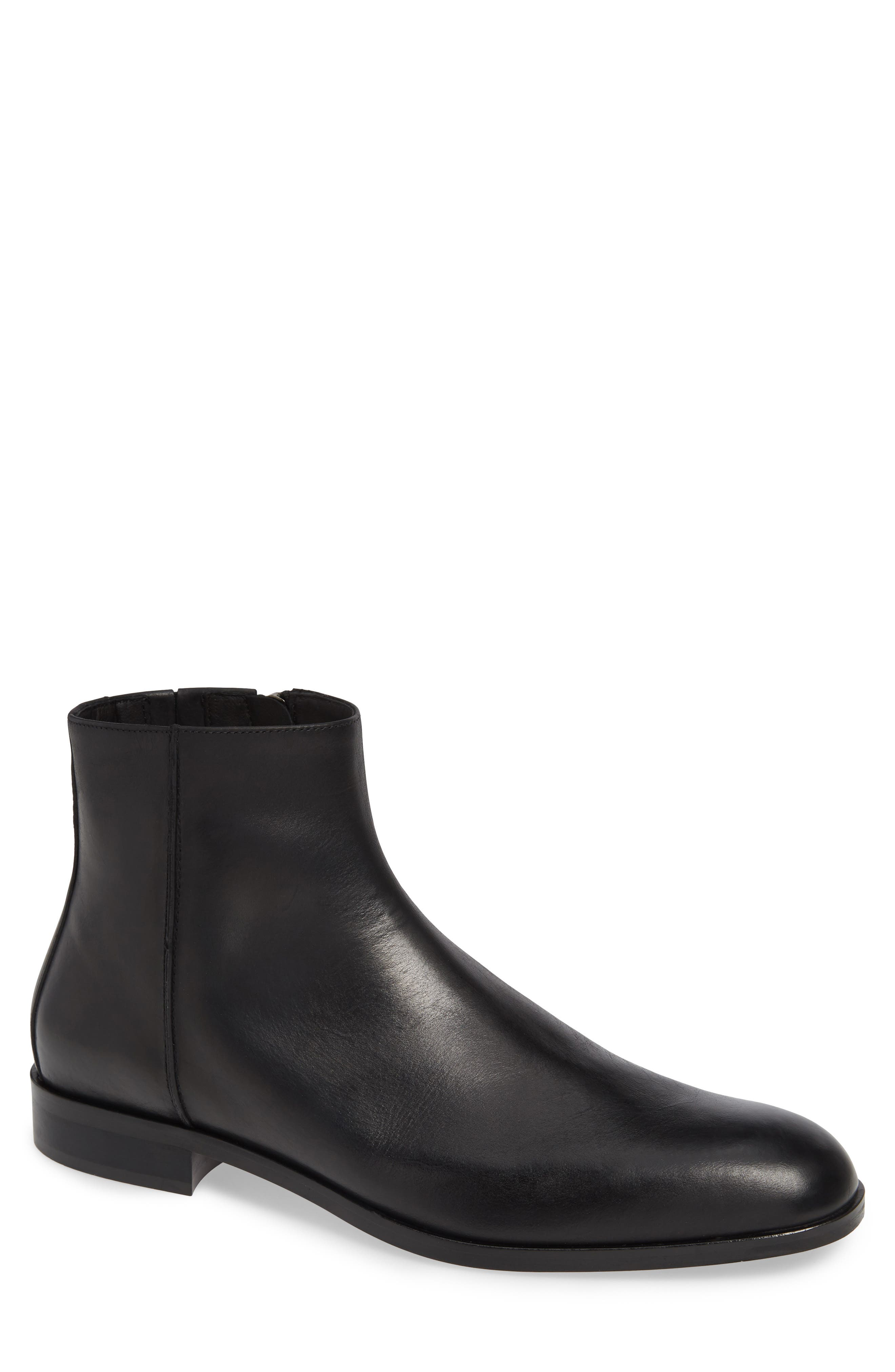 DONALD PLINER Men'S Milo-13 Leather Zip Ankle Boots in Black