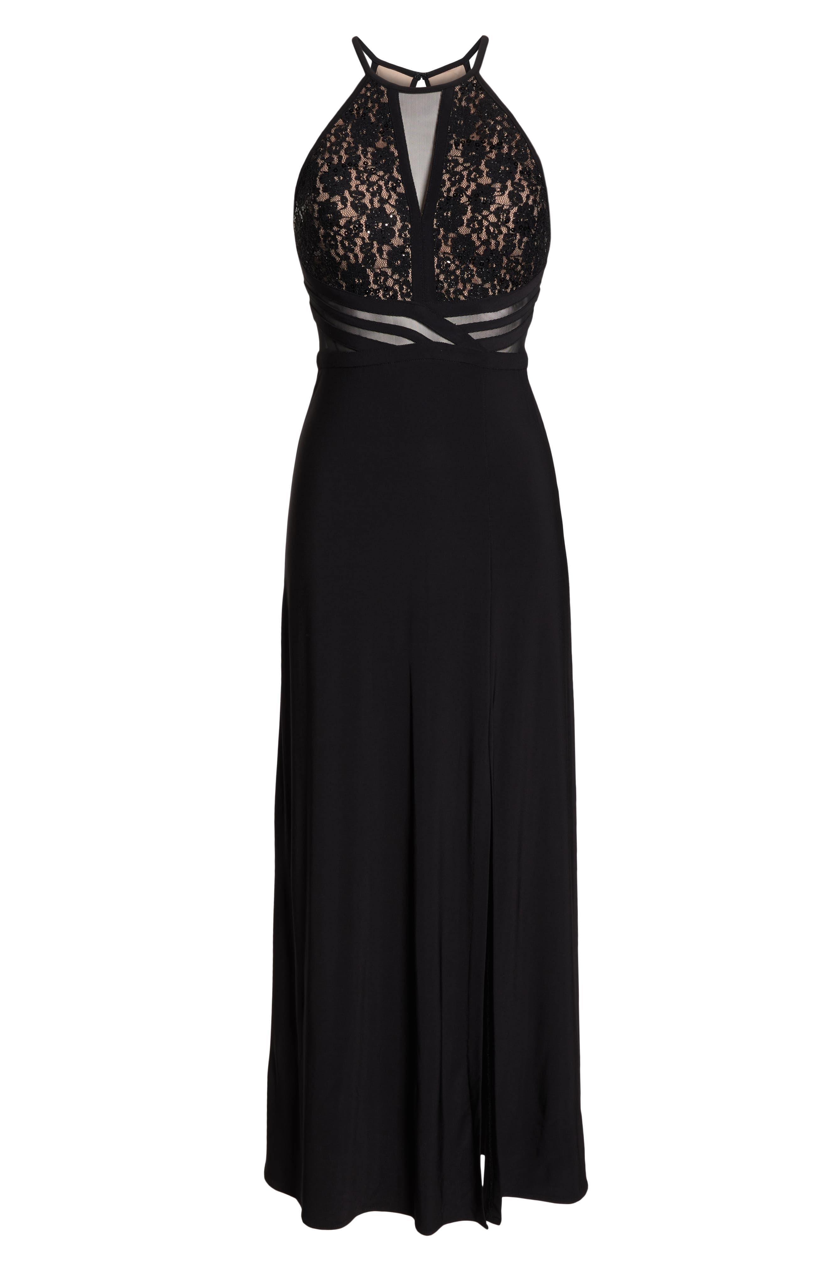 MORGAN & CO.,                             Lace & Illusion Mesh Bodice Gown,                             Alternate thumbnail 7, color,                             BLACK/ NUDE