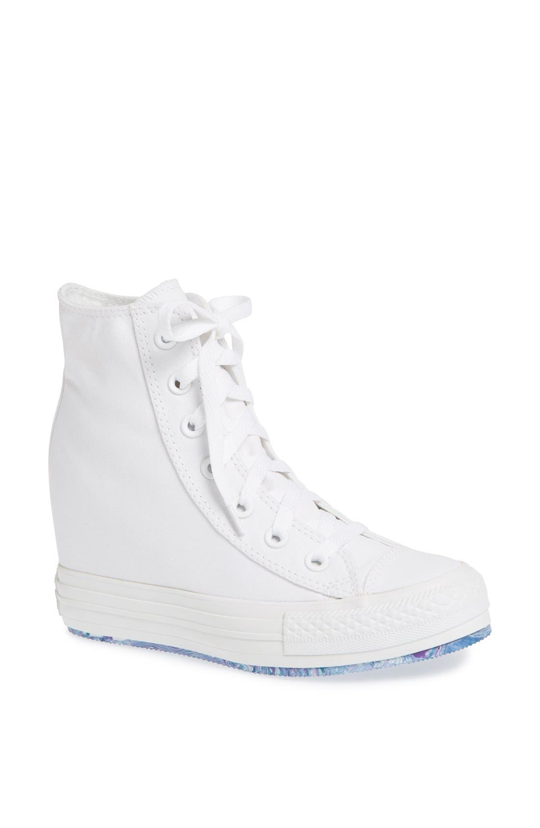 Chuck Taylor<sup>®</sup> All Star<sup>®</sup> 'Platform Plus' Hidden Wedge High-Top Sneaker,                             Main thumbnail 1, color,                             100