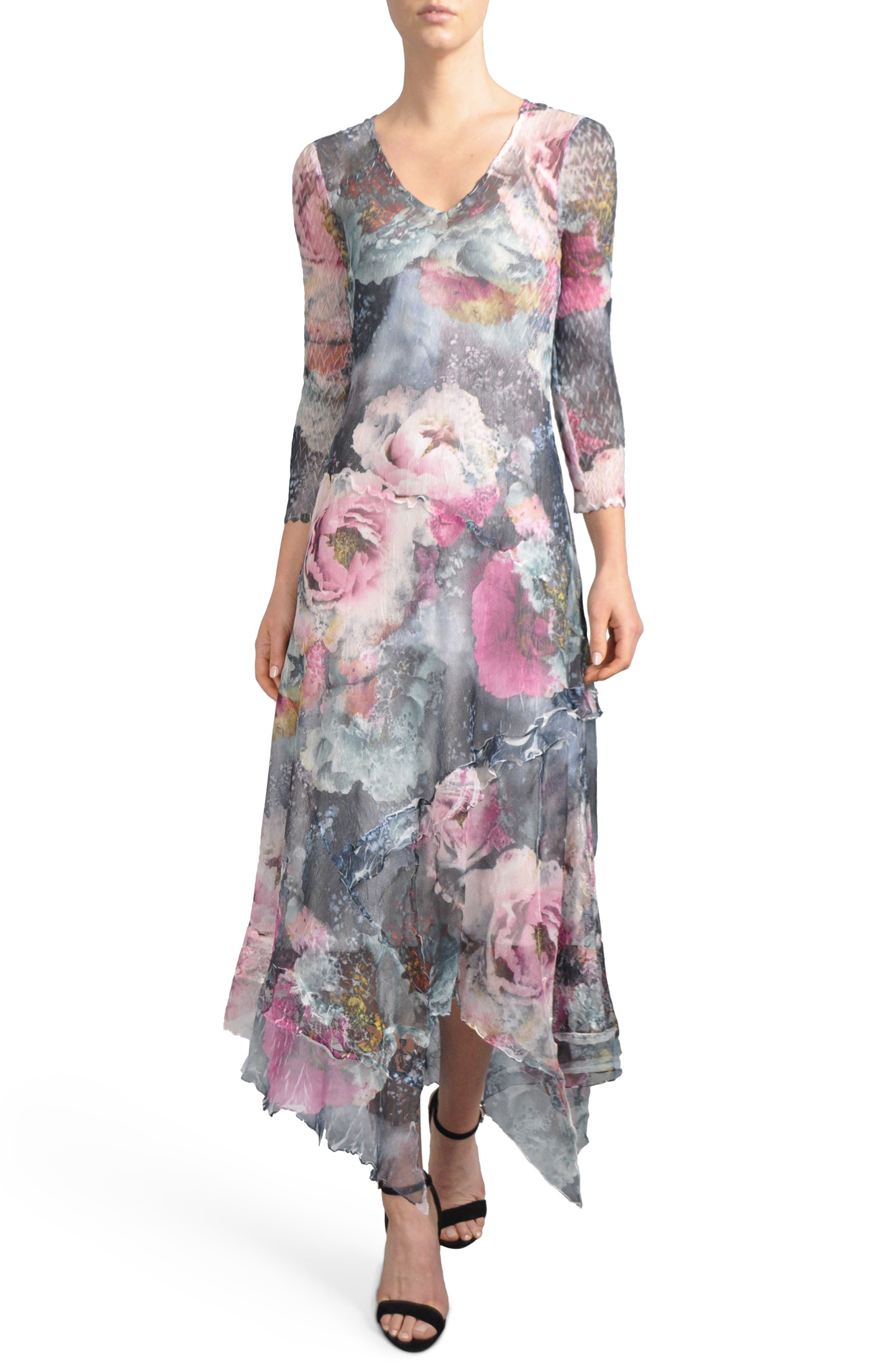 Handkerchied Hem Floral Maxi Dress,                             Main thumbnail 1, color,                             491
