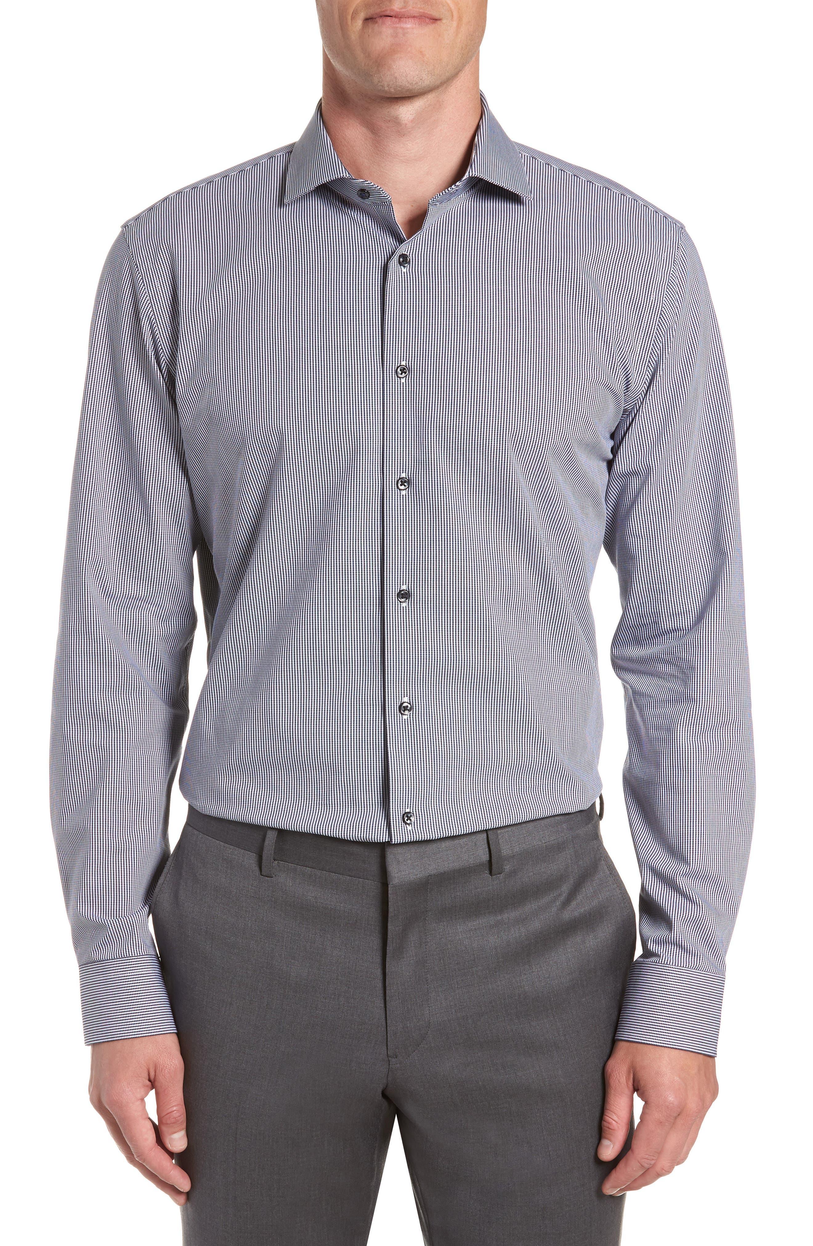 Tech-Smart Trim Fit Houndstooth Dress Shirt,                             Main thumbnail 1, color,