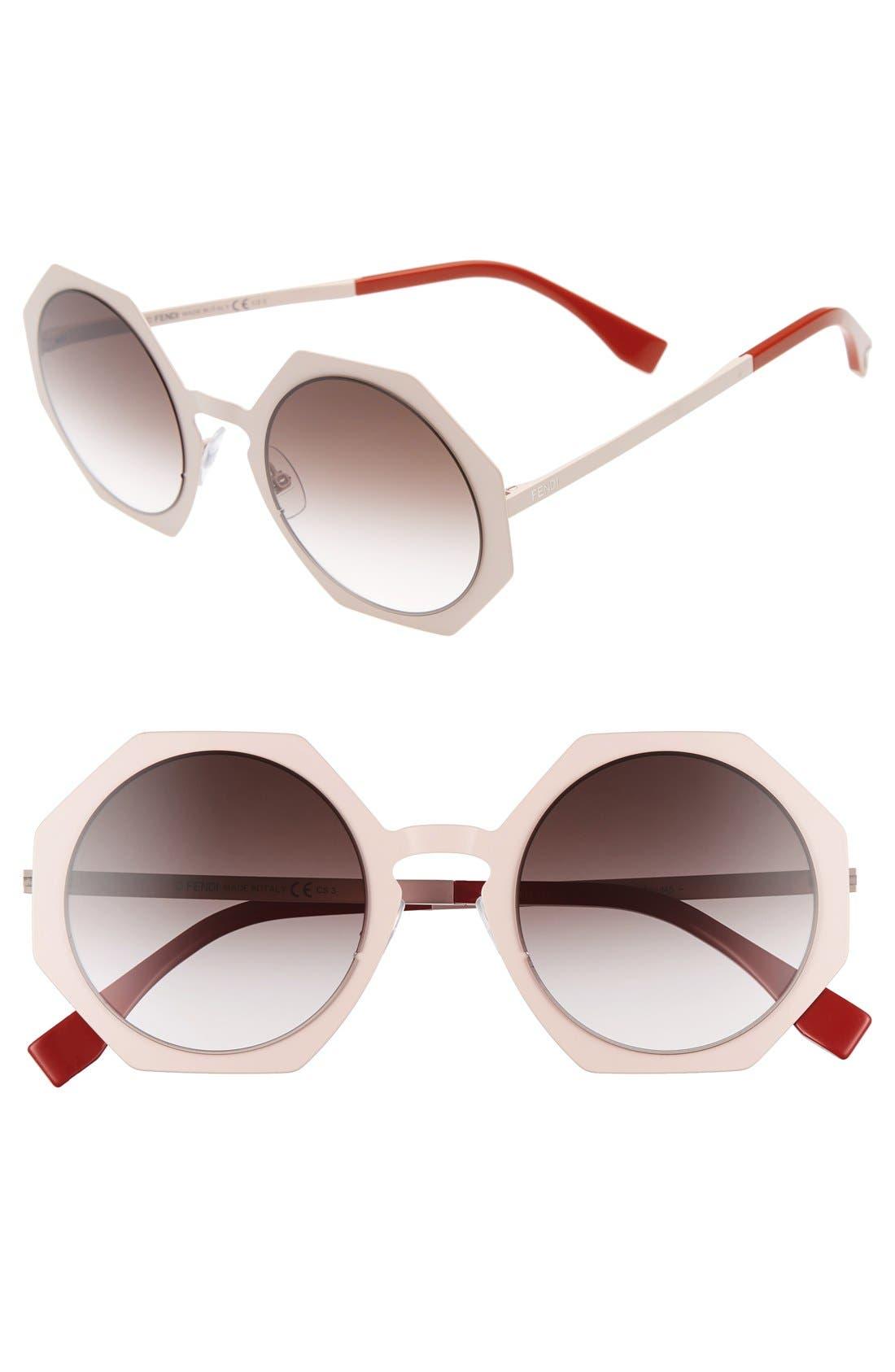 51mm Retro Octagon Sunglasses,                             Main thumbnail 2, color,