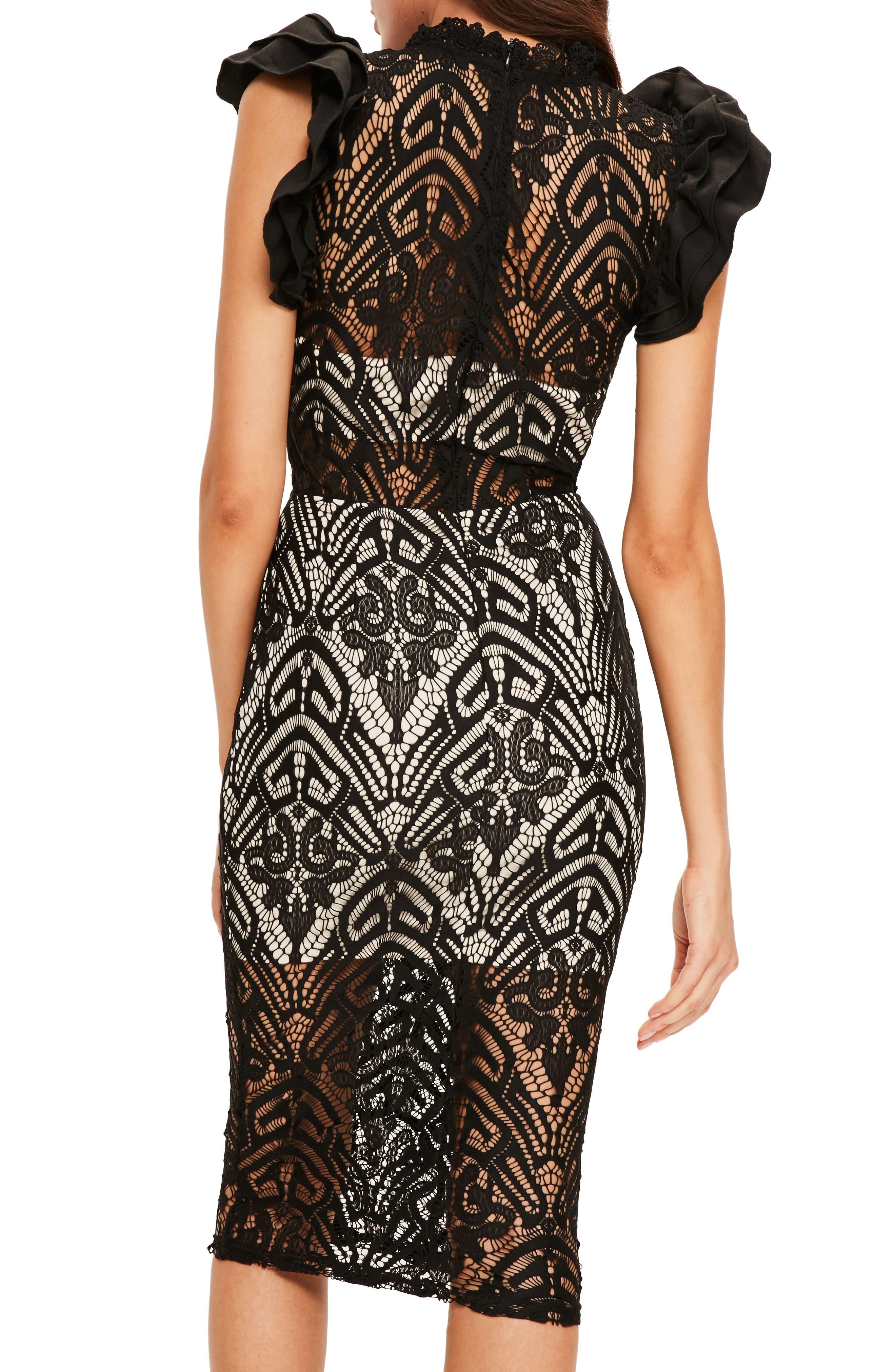 High Neck Lace Midi Dress,                             Alternate thumbnail 2, color,                             001