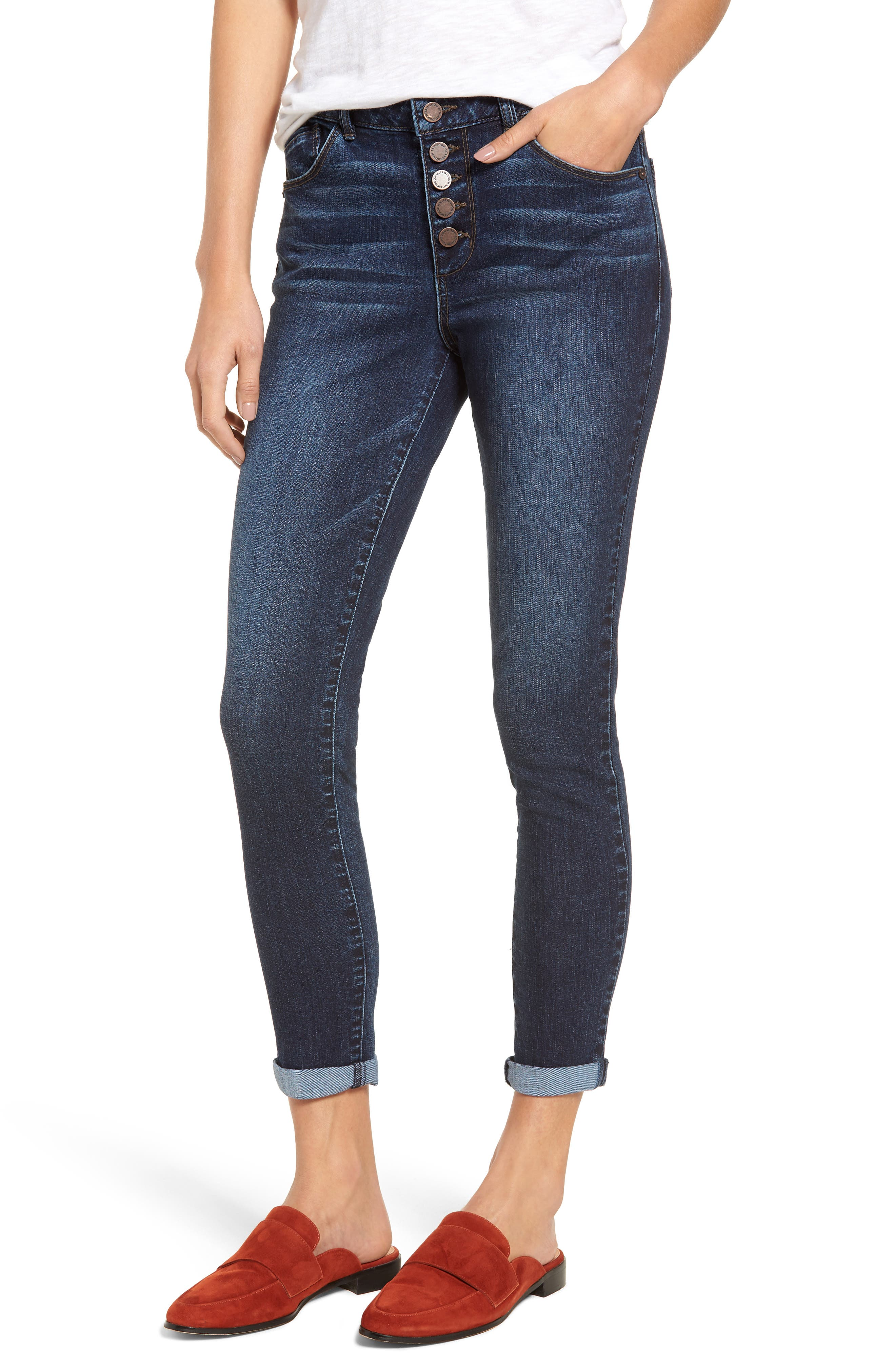 High Waist Button Fly Skinny Ankle Jeans,                         Main,                         color, 420