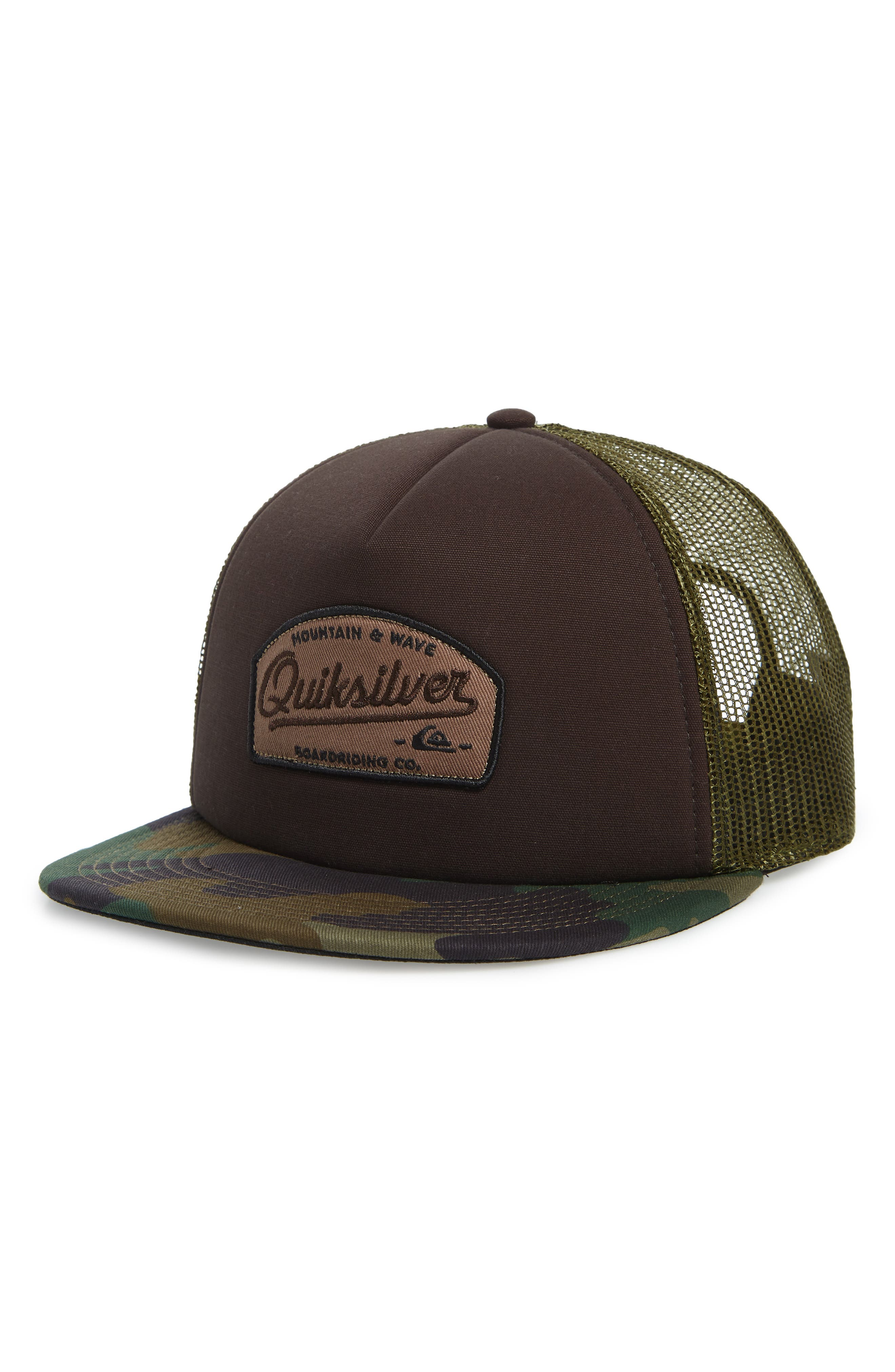 QUIKSILVER Past Checker Trucker Hat - Brown in Chocolate Brown