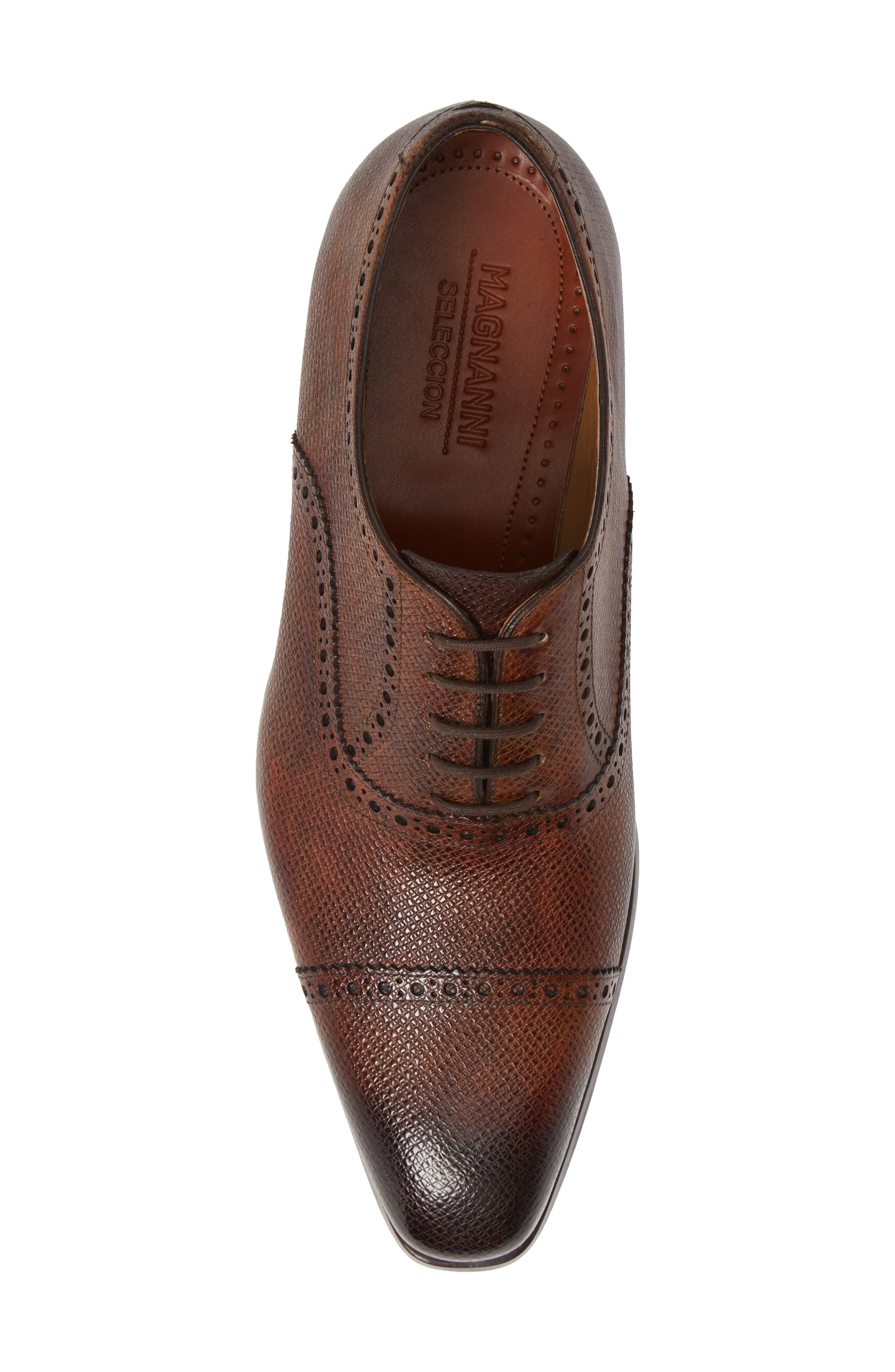 Charlton Cap Toe Oxford,                             Alternate thumbnail 5, color,                             MID BROWN LEATHER