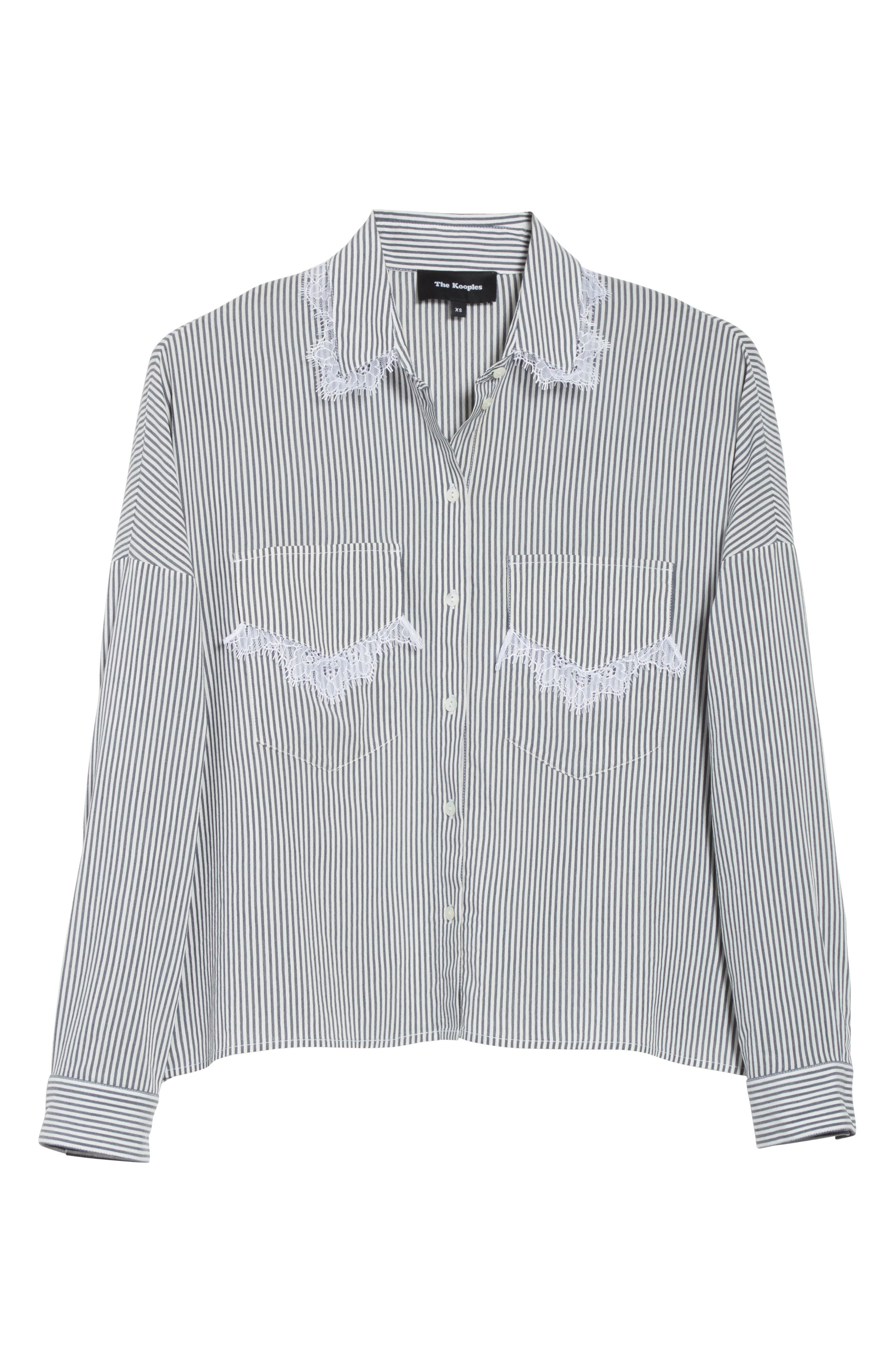 James Lace Trim Stripe Shirt,                             Alternate thumbnail 6, color,                             400