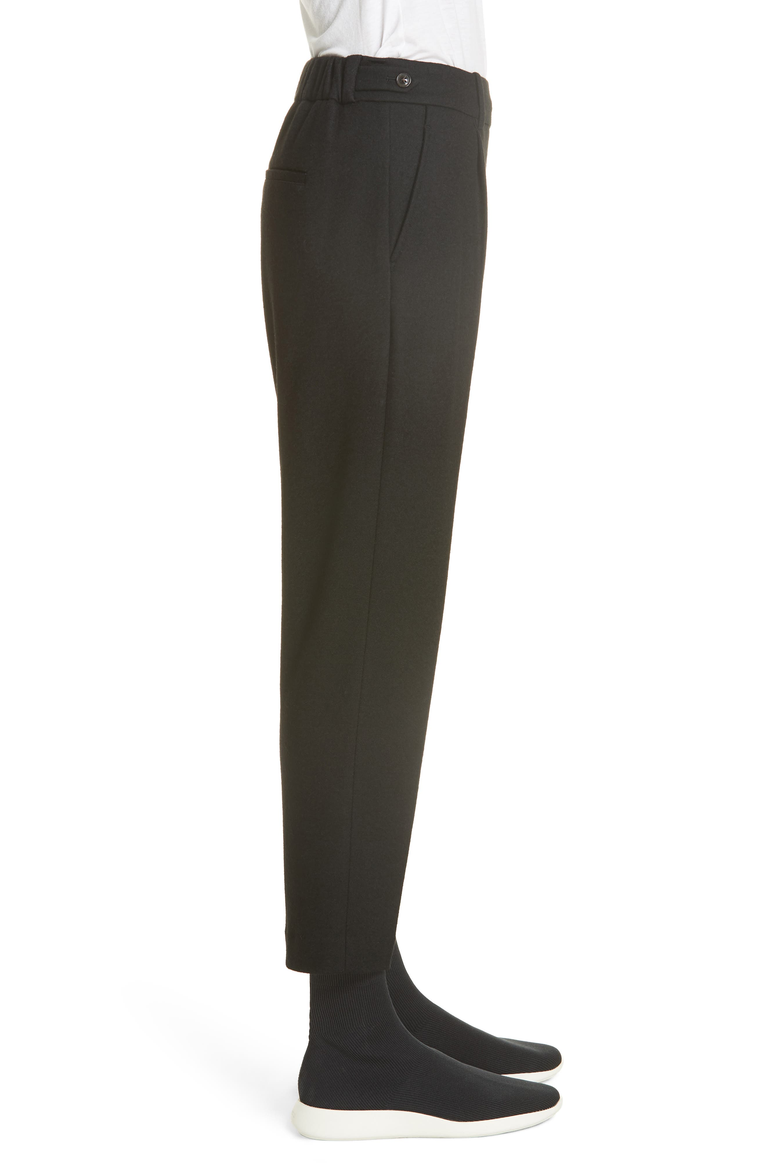 Cropped Pull-On Pants,                             Alternate thumbnail 3, color,                             BLACK