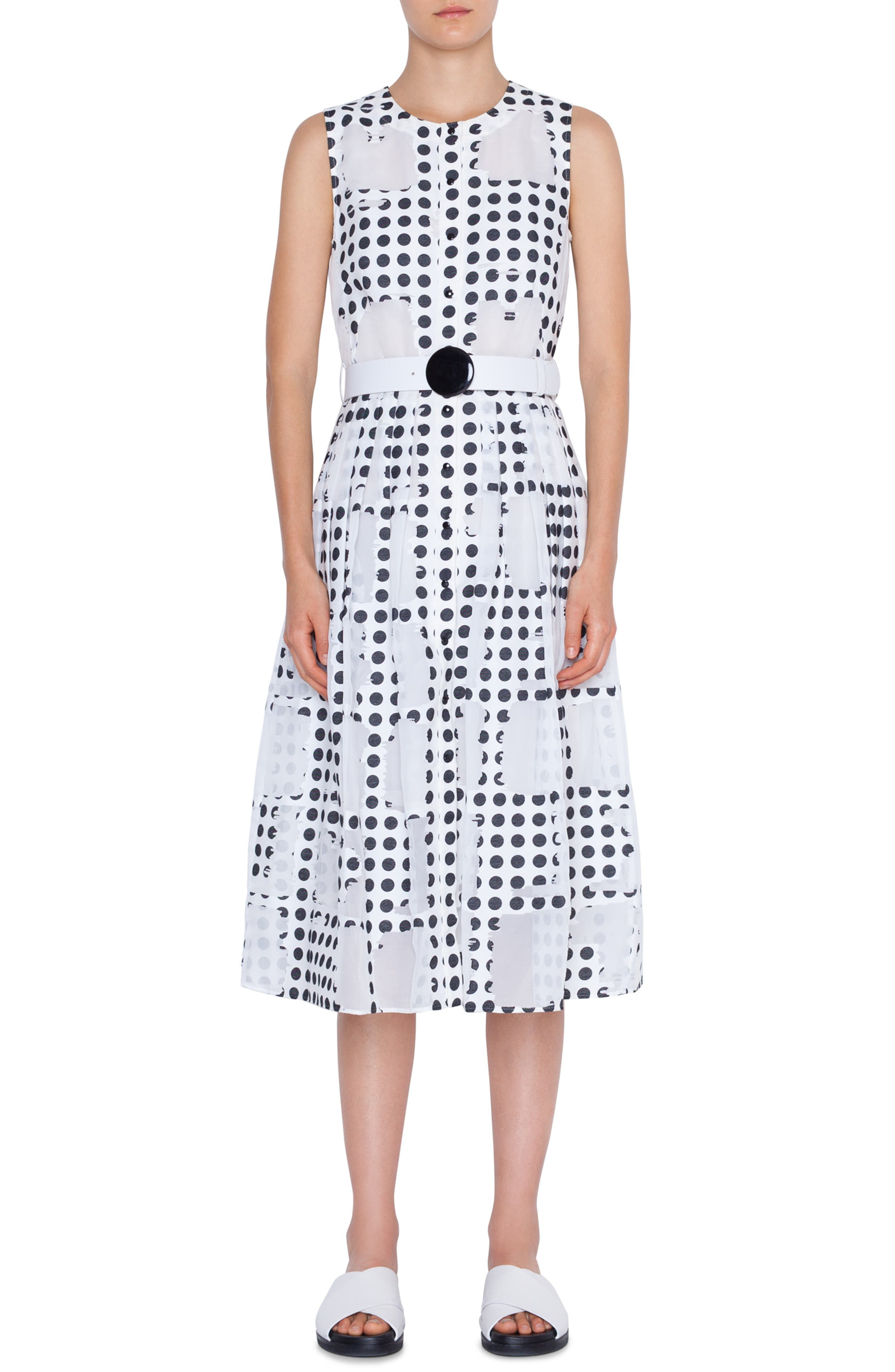 Akris Punto Window Dot Midi Dress, White