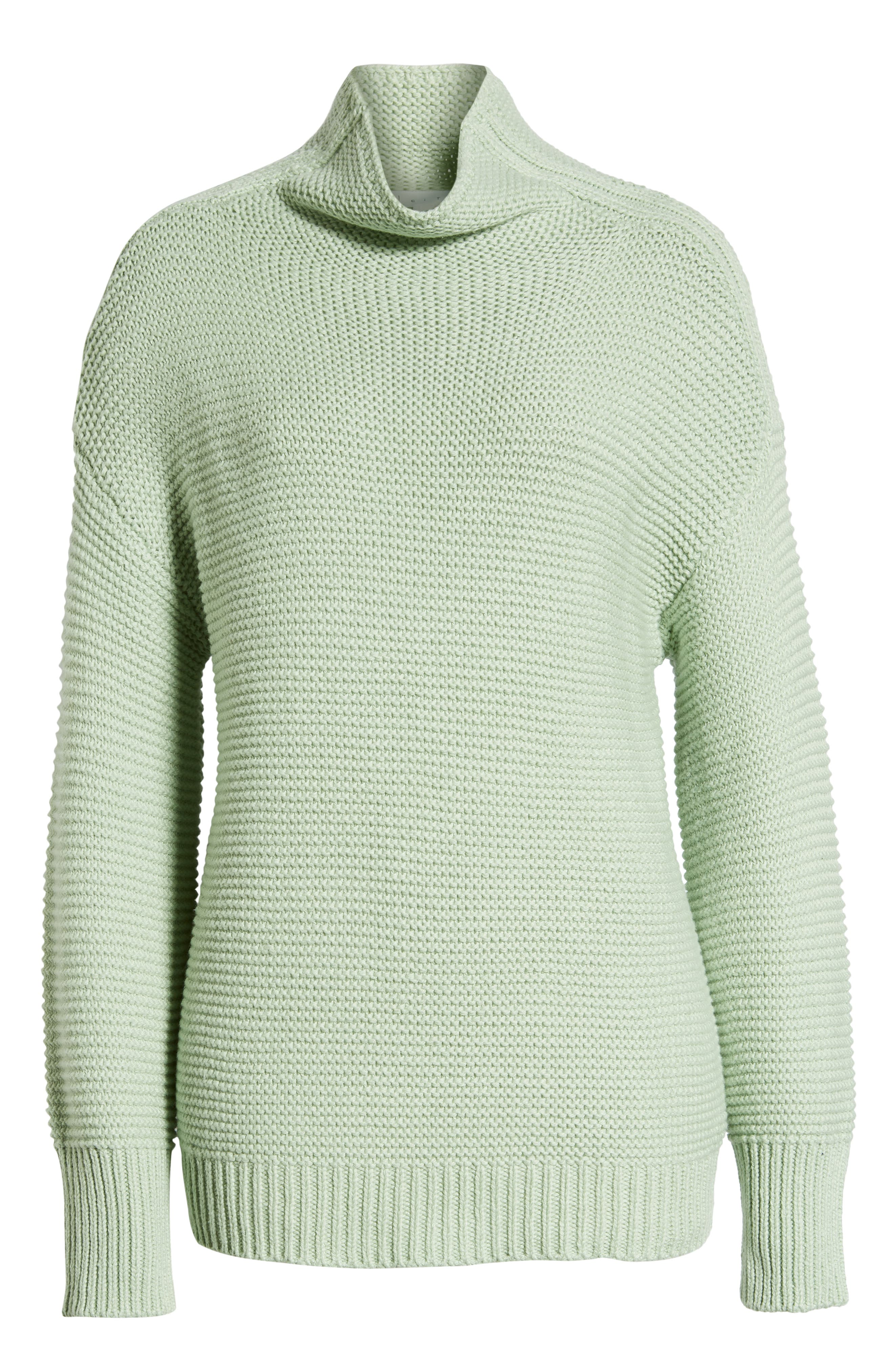 Turtleneck Sweater,                             Alternate thumbnail 6, color,                             GREEN GHOST