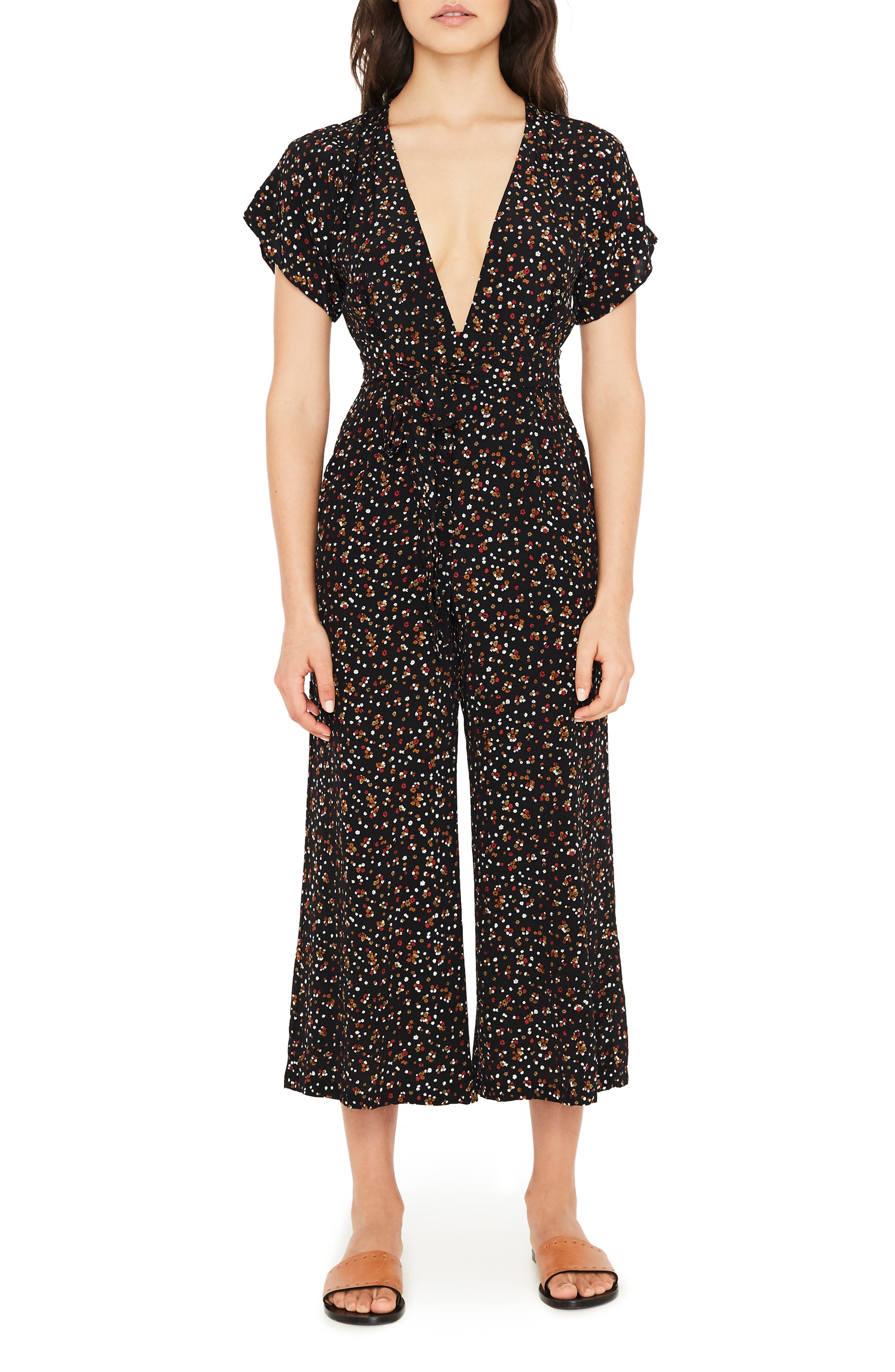 FAITHFULL THE BRAND Alena Ditsy Floral Print Jumpsuit, Main, color, 001