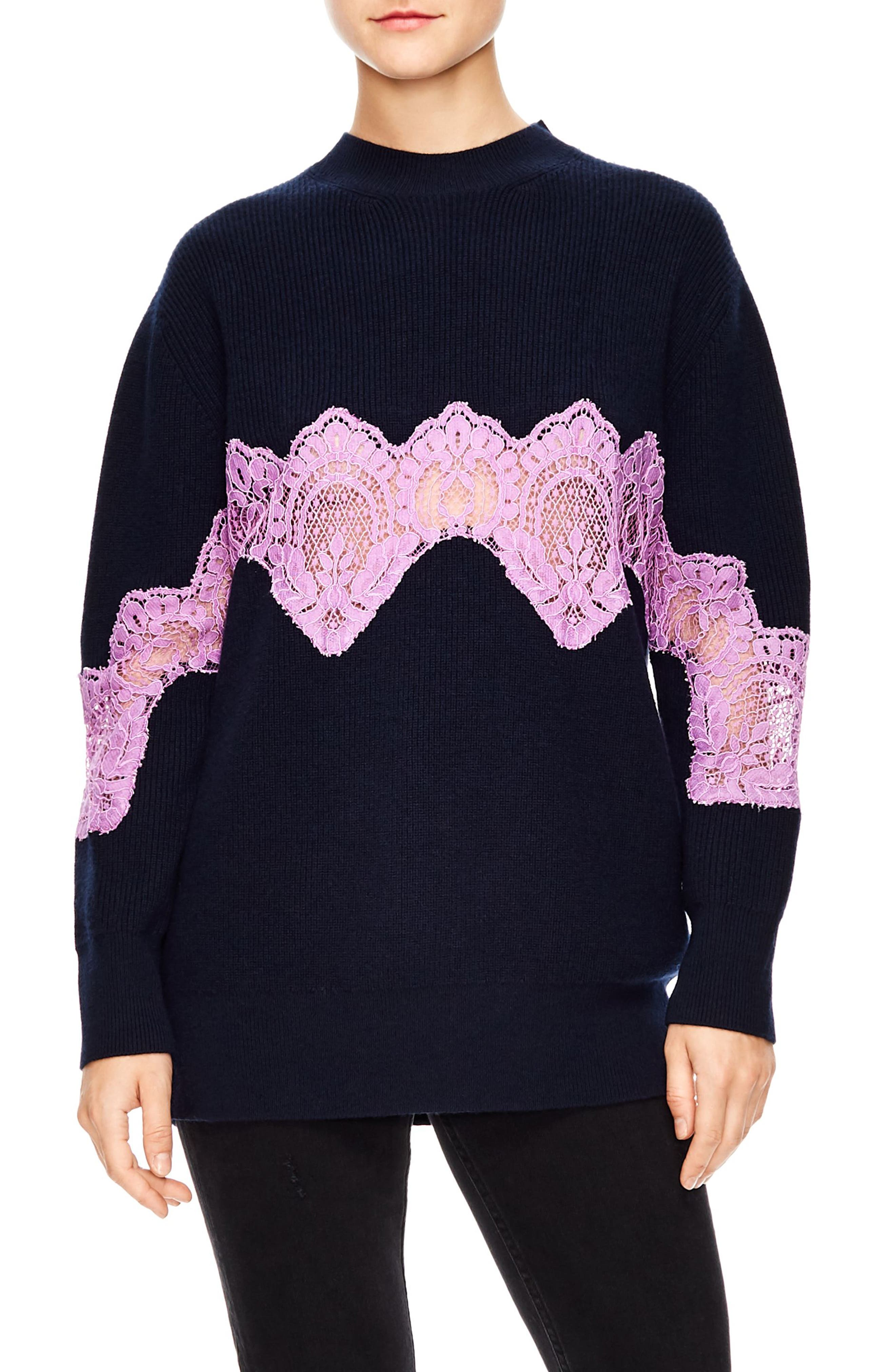 Lace Detail Sweater,                             Main thumbnail 1, color,                             DEEP NAVY