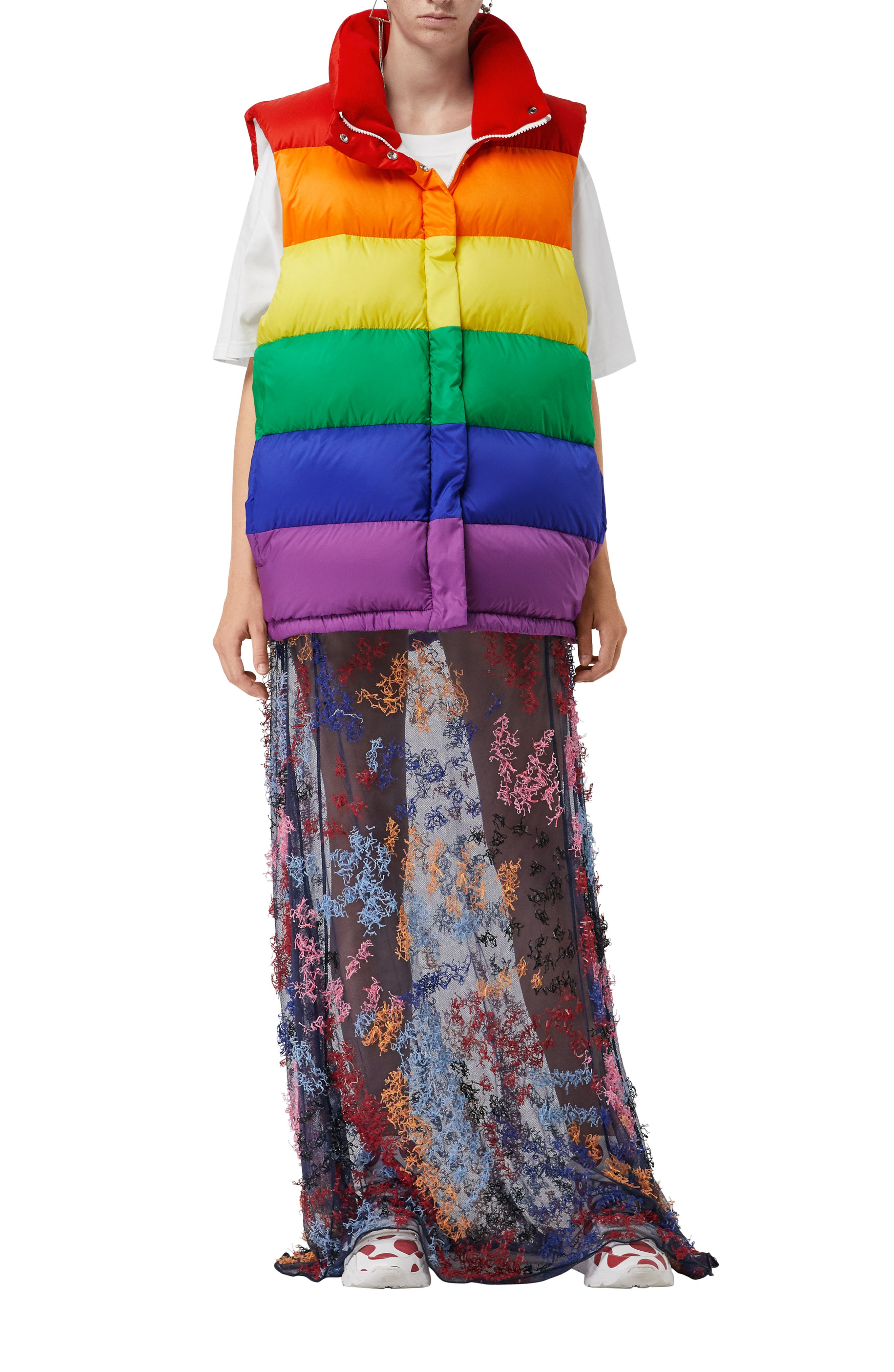 Rainbow Down Puffer Vest,                             Alternate thumbnail 5, color,                             RAINBOW