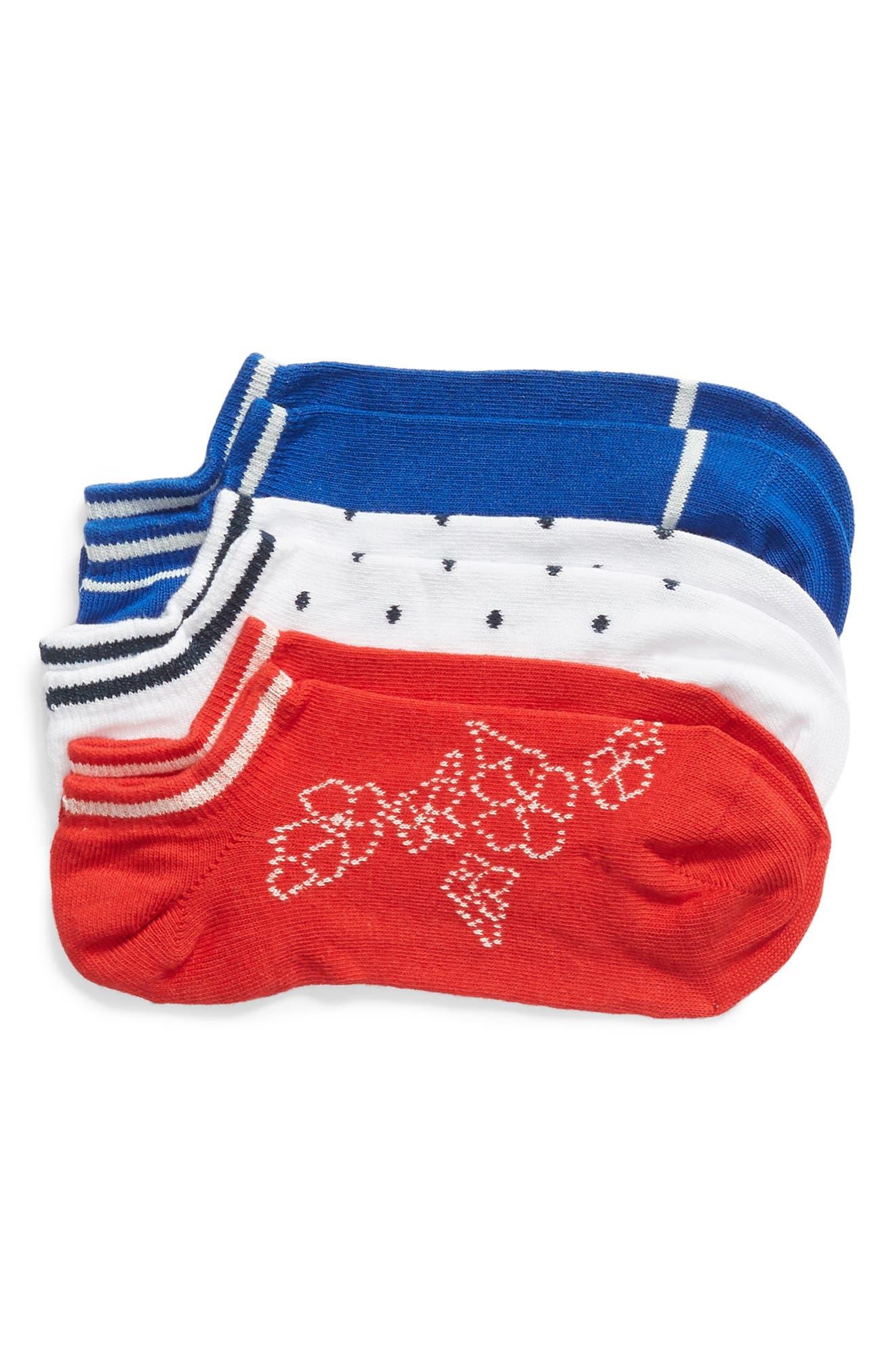 3-Pack Calzino Abstract Mix Low-Cut Socks,                             Main thumbnail 1, color,                             VIVID COLORS