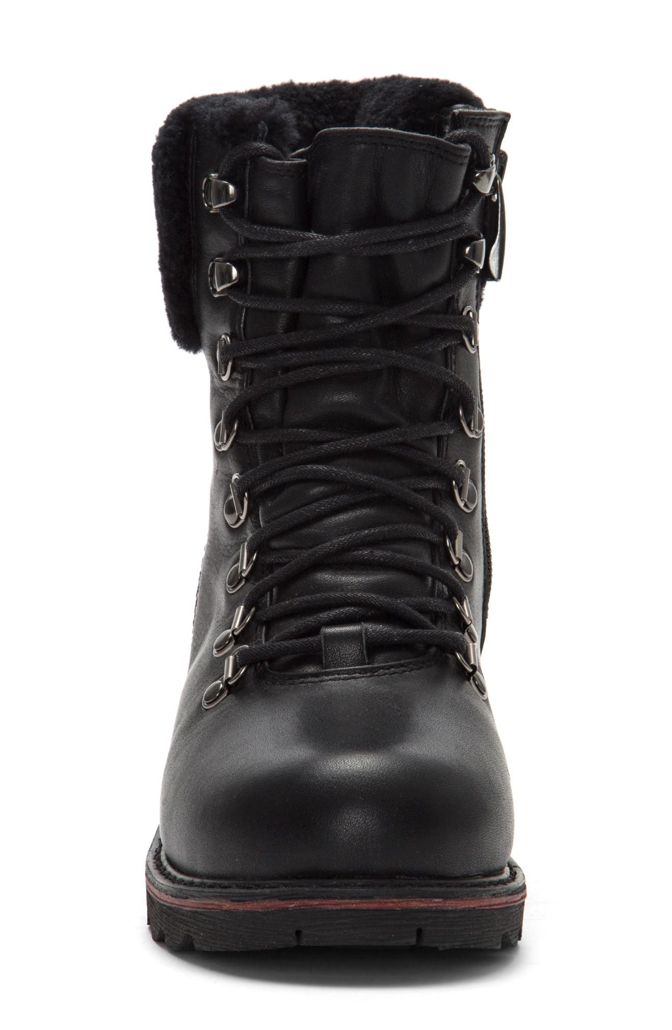 Lethbridge Waterproof Plain Toe Boot with Genuine Shearling,                             Alternate thumbnail 3, color,                             TRIPLE BLACK LEATHER