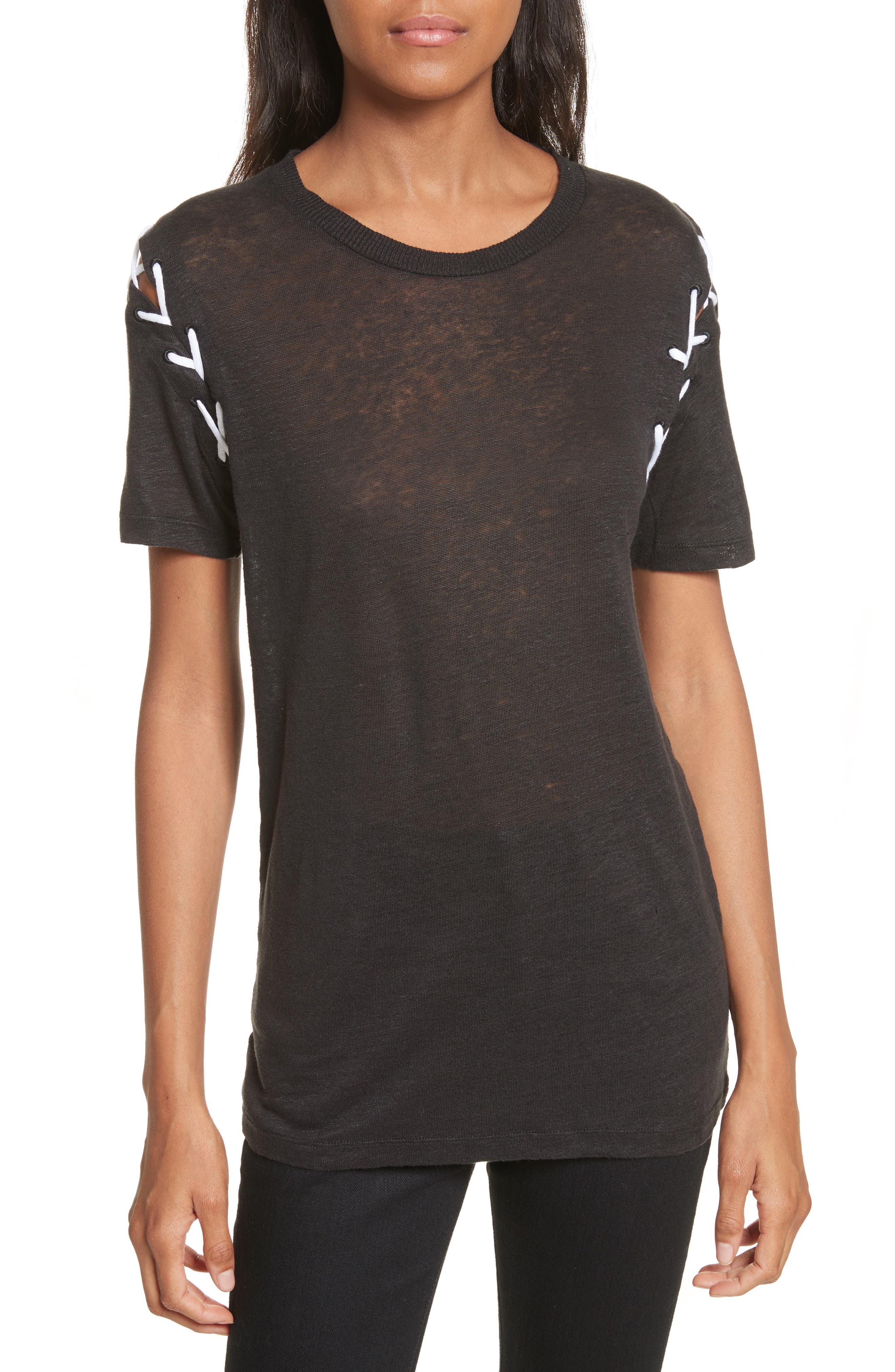 Melly Lace-Up Linen Tee,                         Main,                         color, 001