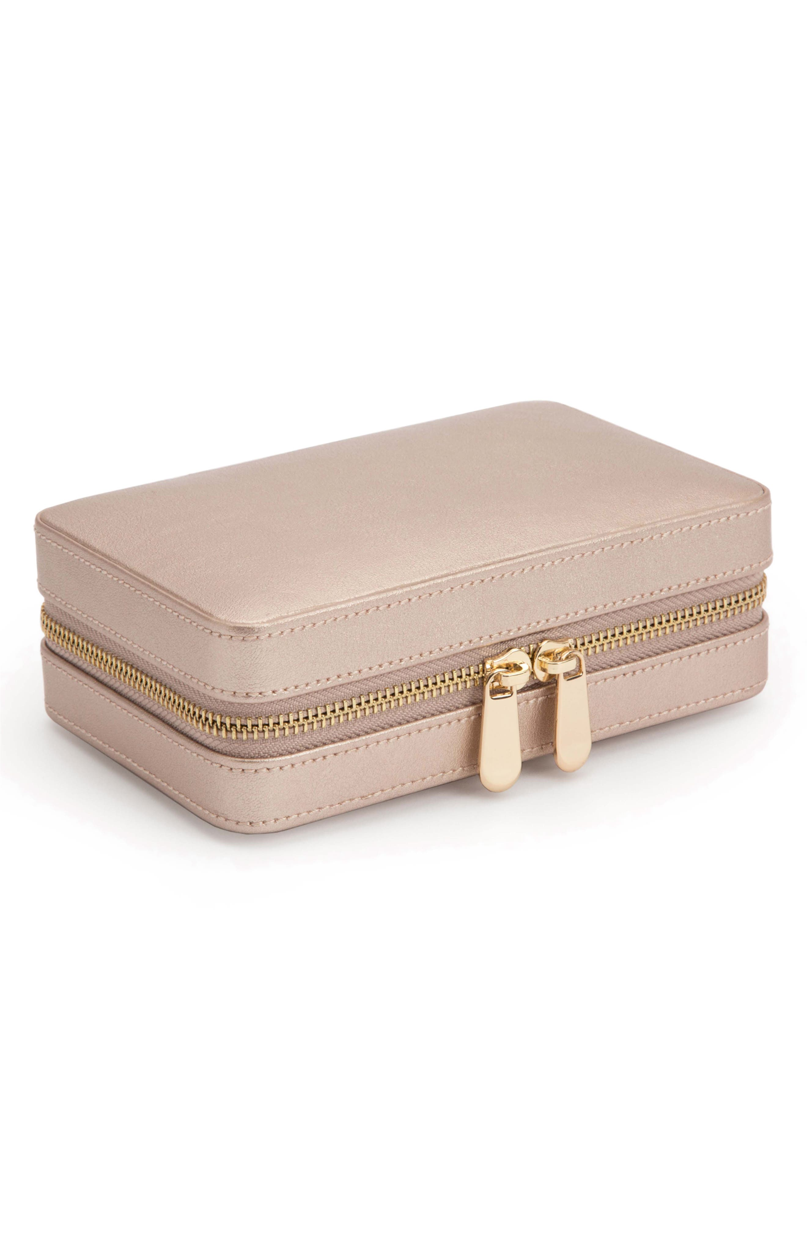 Palermo Zip Jewelry Case,                             Alternate thumbnail 4, color,                             ROSE GOLD