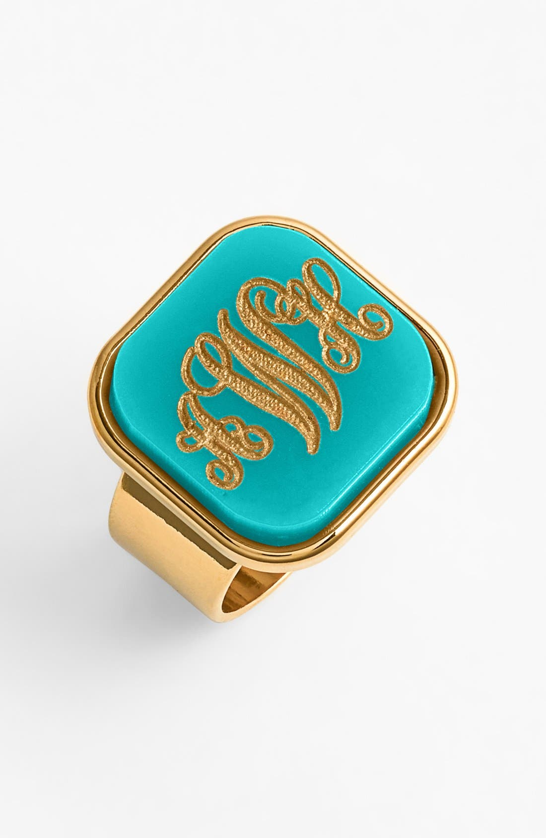 'Vineyard' Personalized Monogram Ring,                             Main thumbnail 1, color,                             ROBINS EGG