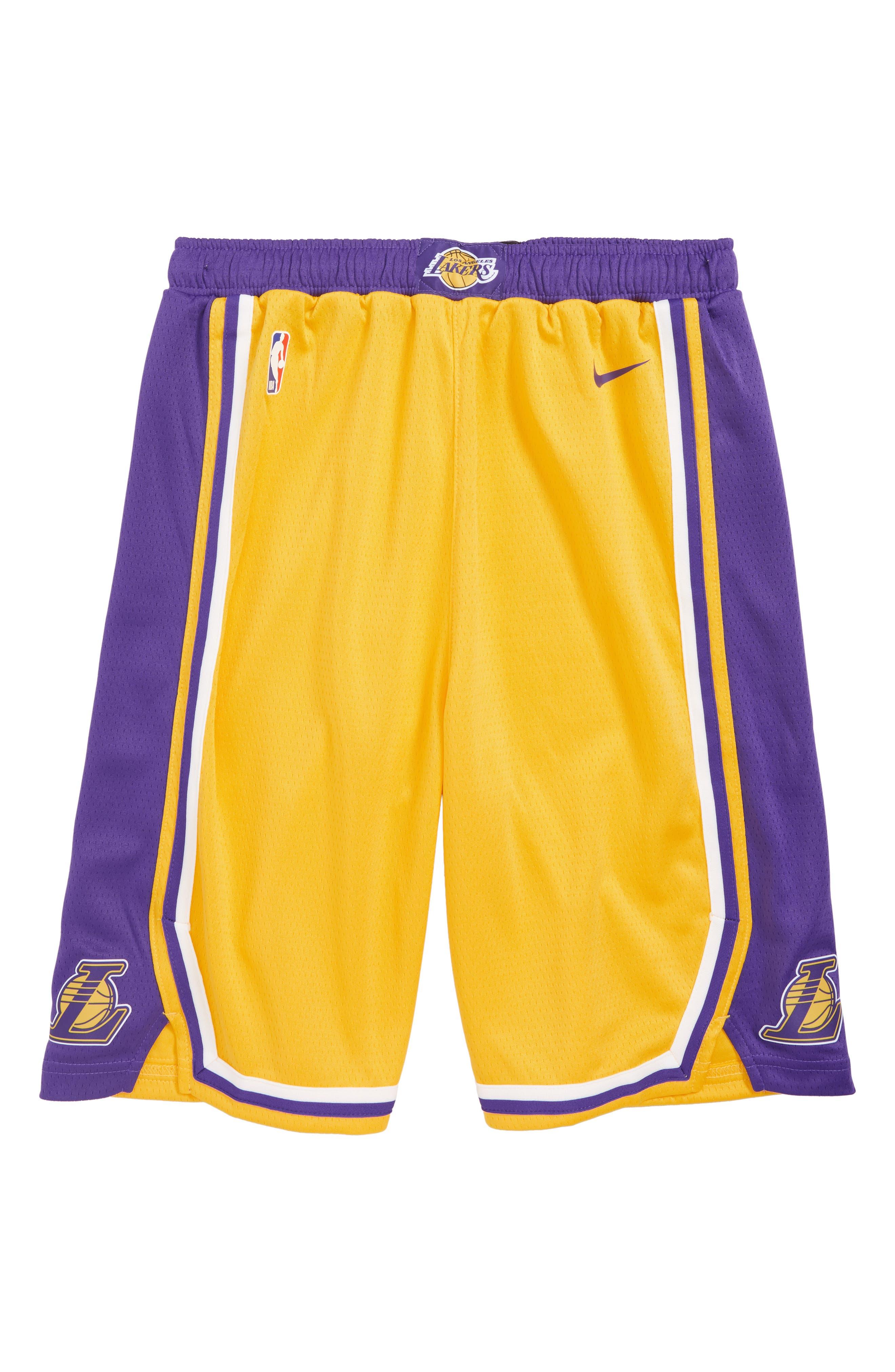 NIKE,                             Icon Los Angeles Lakers Basketball Shorts,                             Main thumbnail 1, color,                             710