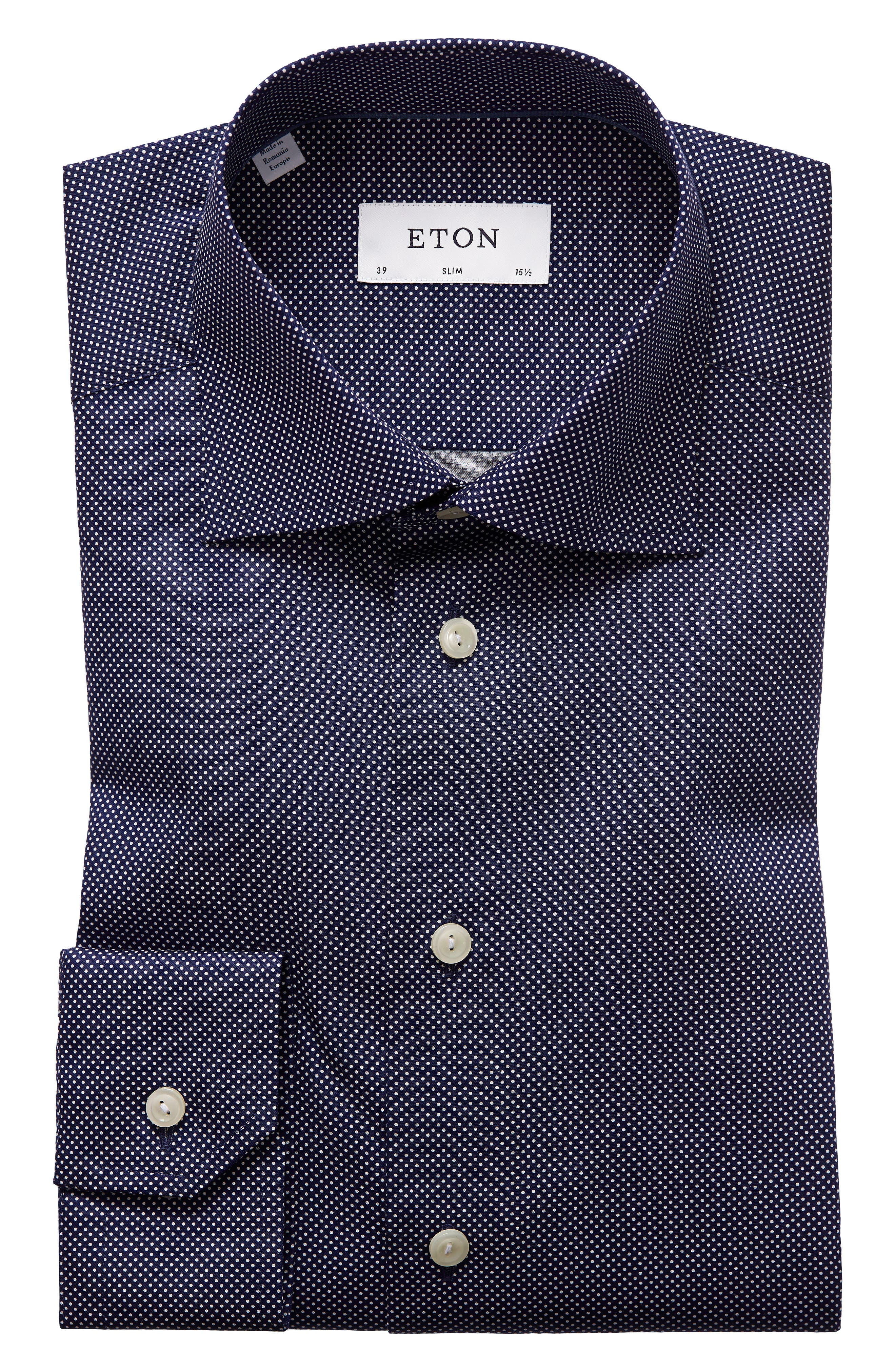 Slim Fit Dot Dress Shirt,                             Alternate thumbnail 2, color,                             BLUE