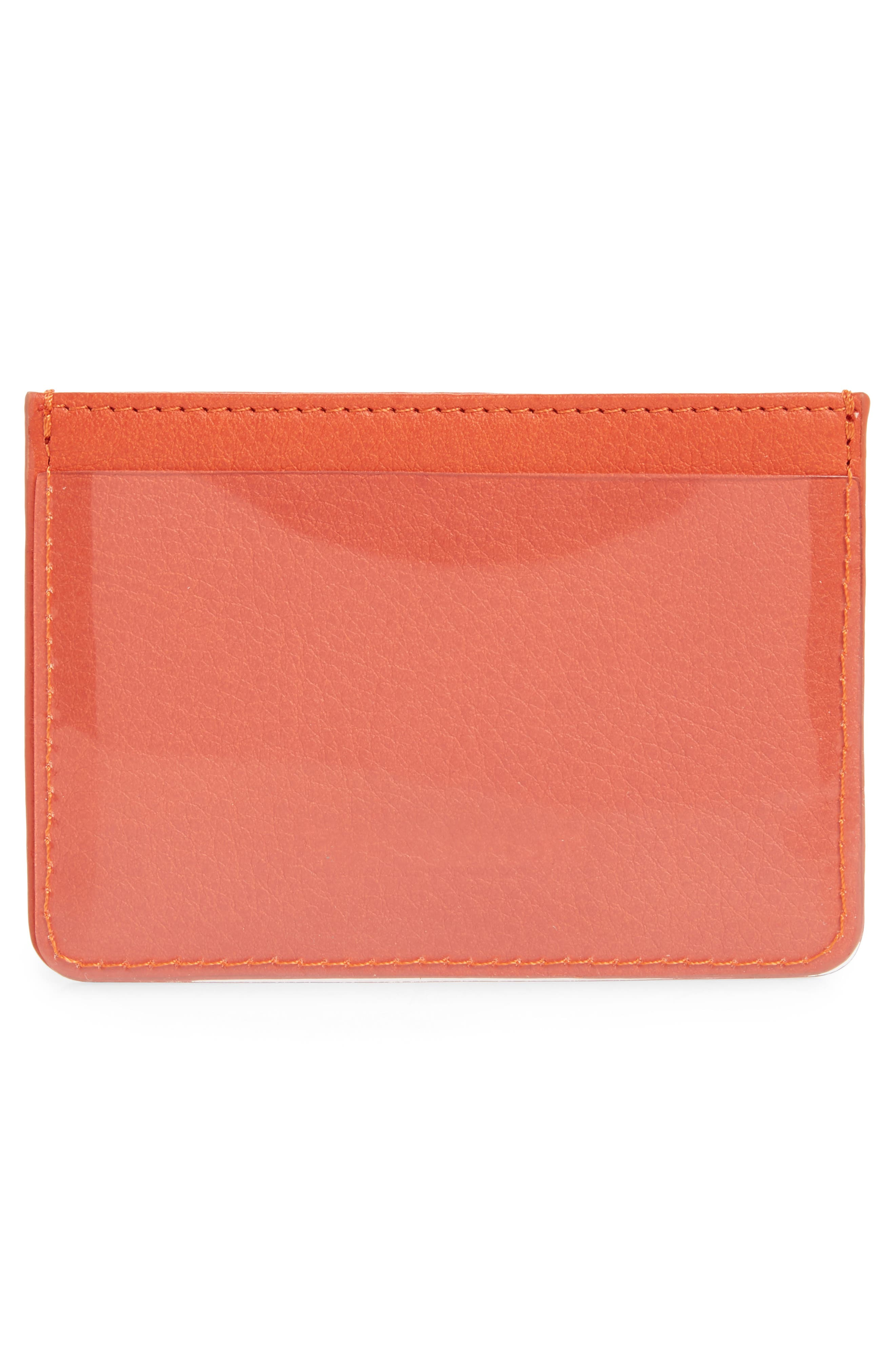 Privacy Leather Card Case,                             Alternate thumbnail 3, color,                             POPPY