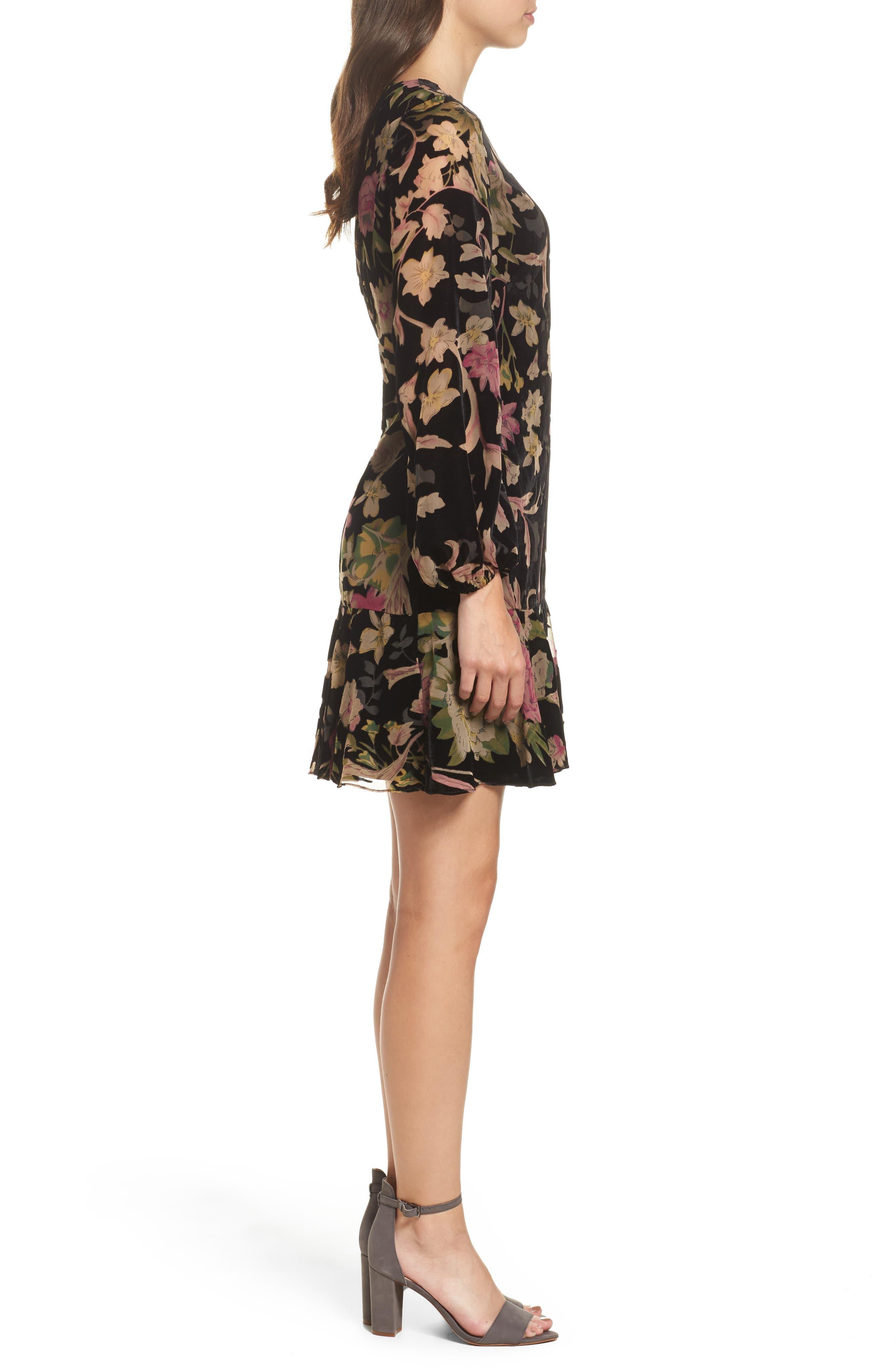 Floral Print Velvet Shift Dress,                             Alternate thumbnail 3, color,                             BLACK