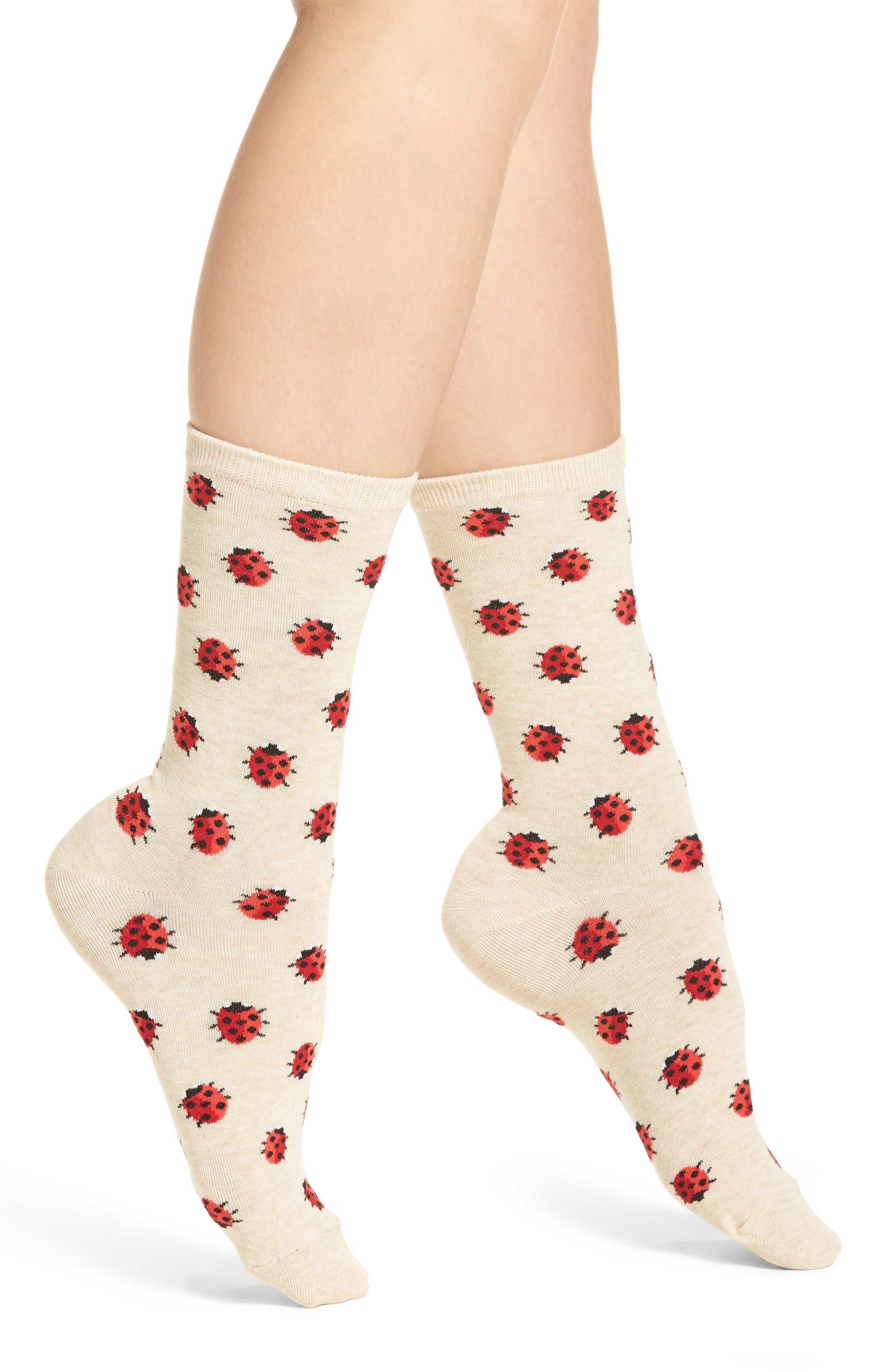 Ladybug Crew Socks,                             Main thumbnail 1, color,
