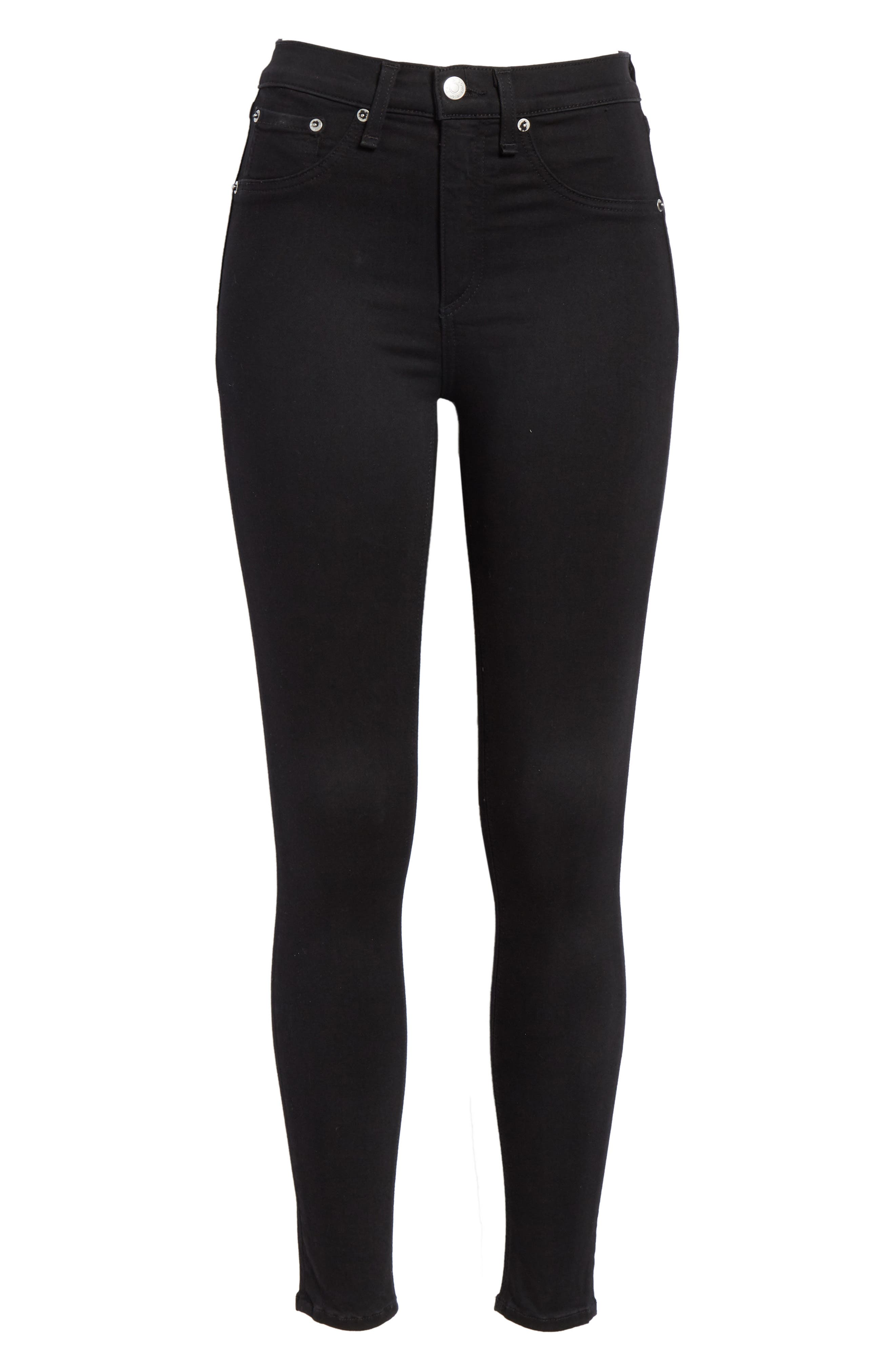 High Waist Ankle Skinny Jeans,                             Alternate thumbnail 7, color,                             BLACK