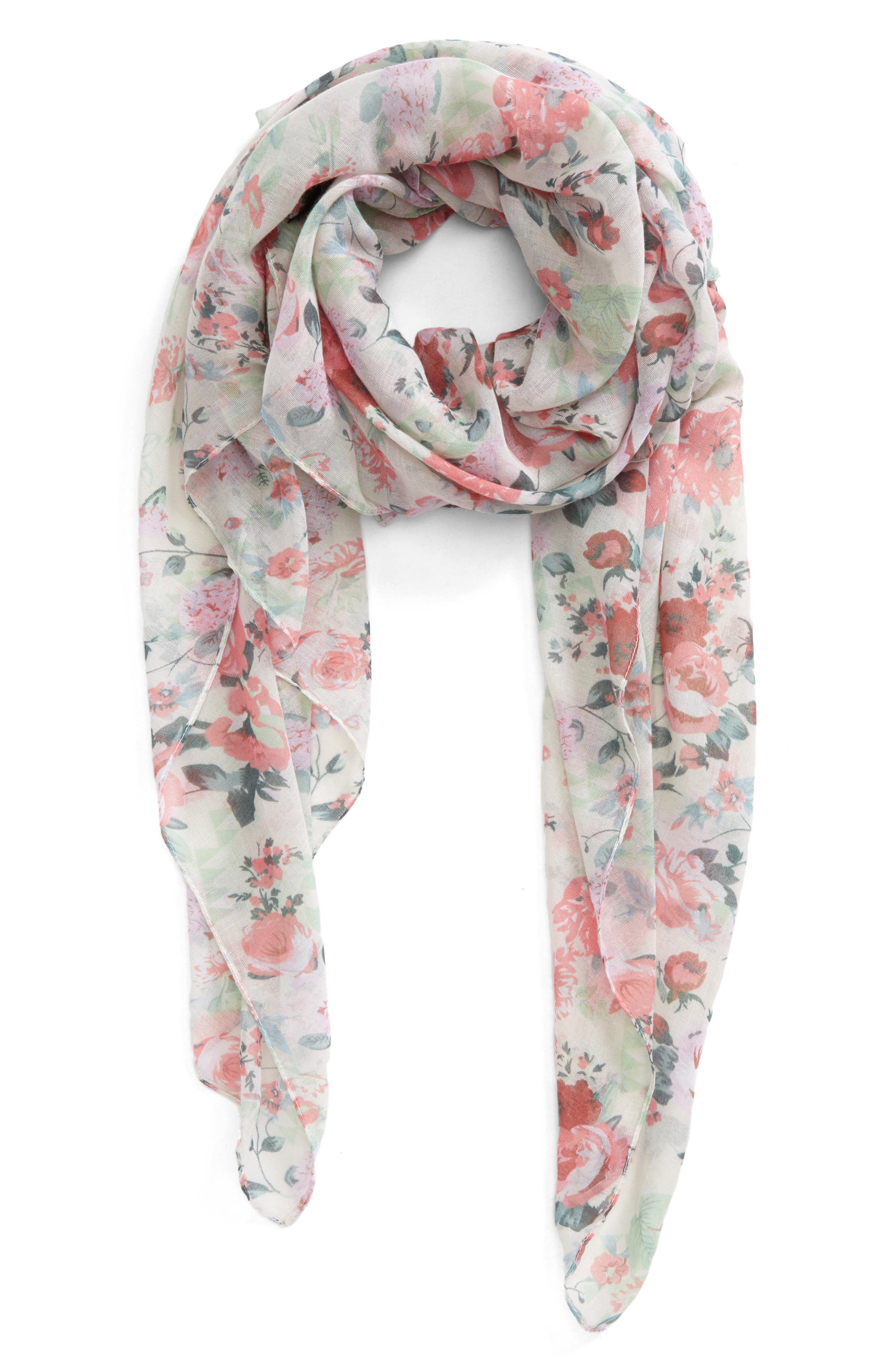 Accessory Collective Floral Print Scarf,                             Main thumbnail 1, color,                             100
