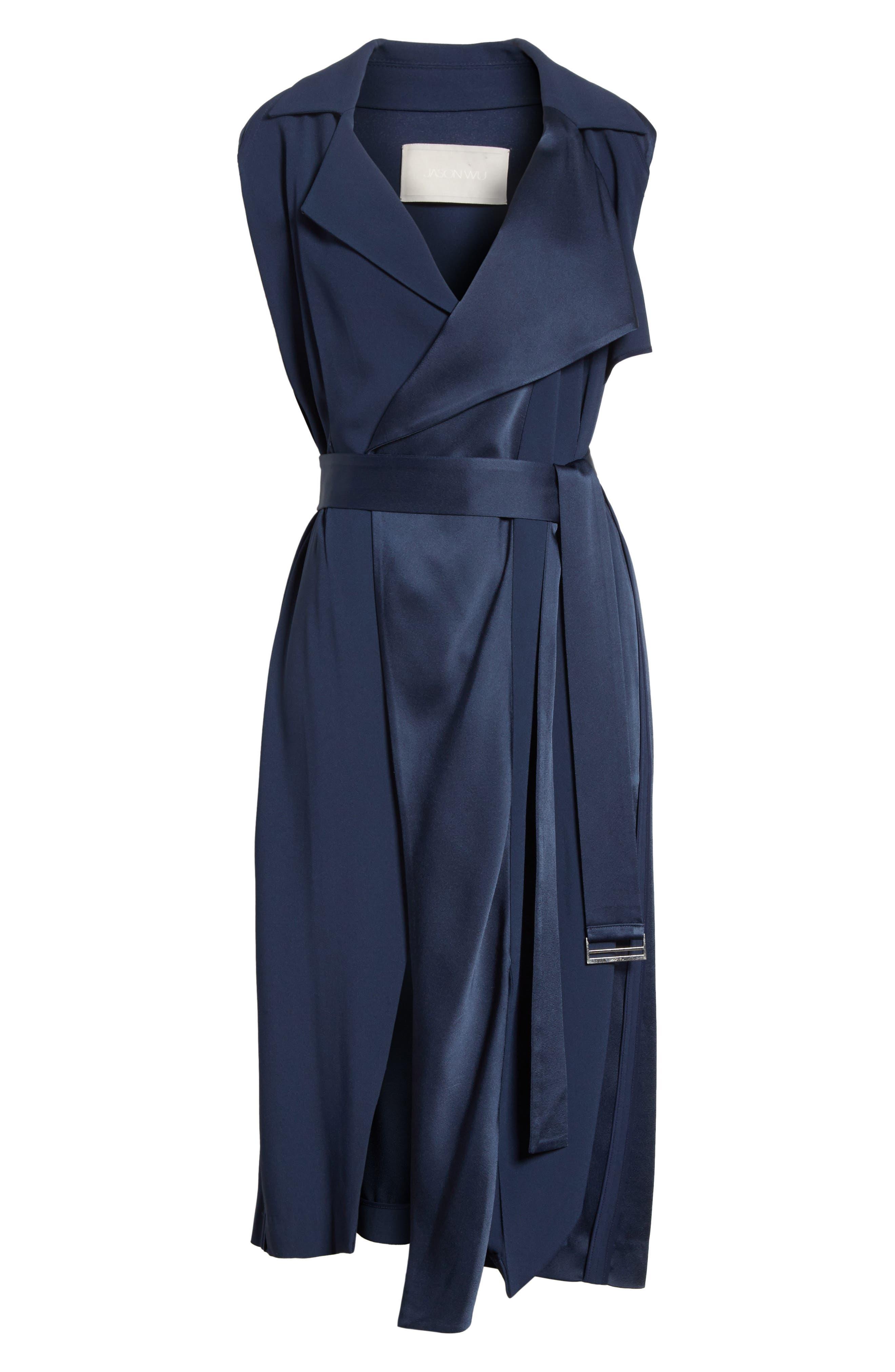 Crepe Back Satin Belted Wrap Dress,                             Alternate thumbnail 6, color,