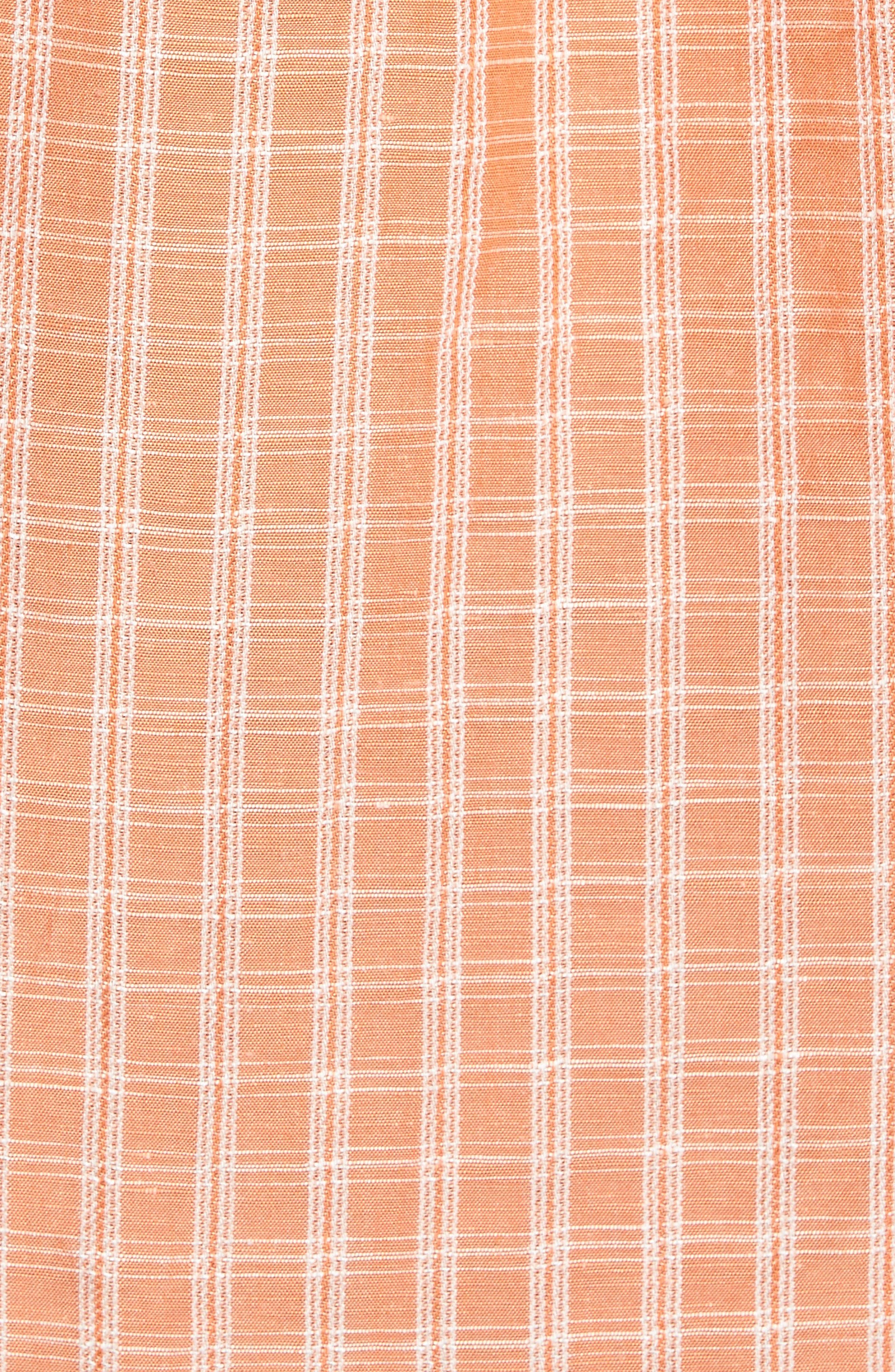 Plaid Sand Linen Blend Sport Shirt,                             Alternate thumbnail 15, color,