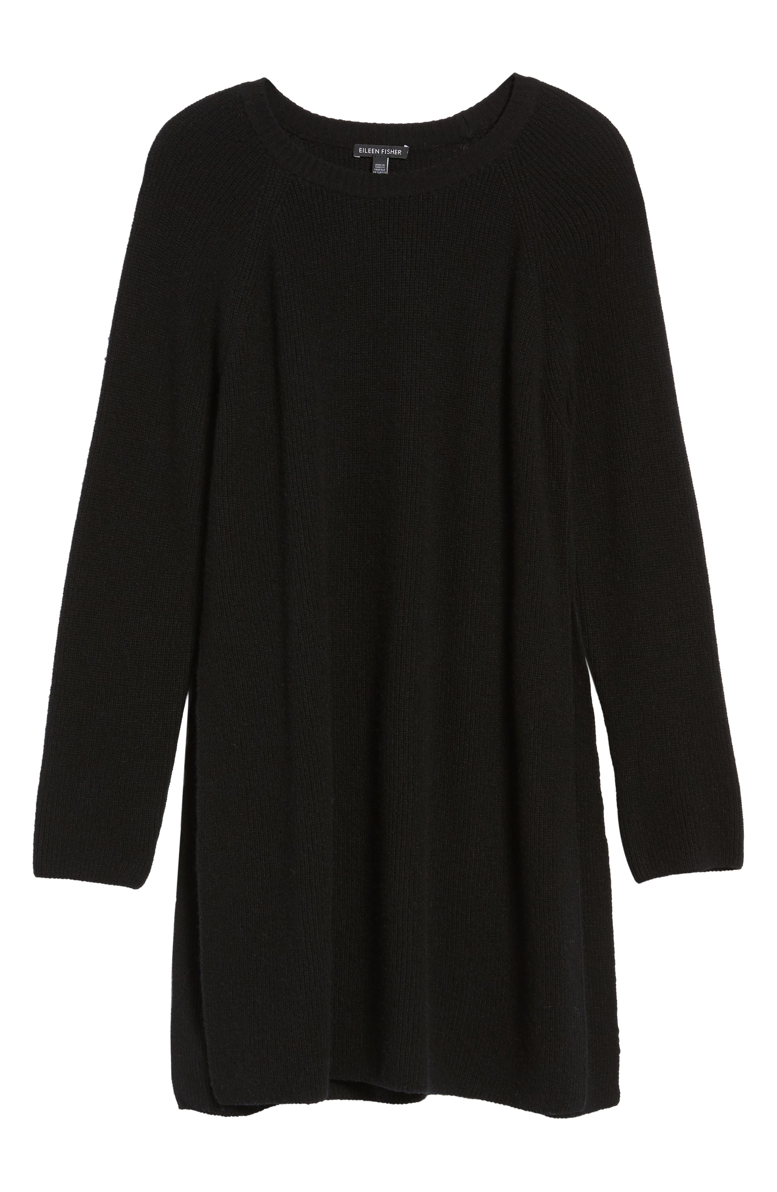 Cashmere Tunic Sweater,                             Alternate thumbnail 6, color,                             001