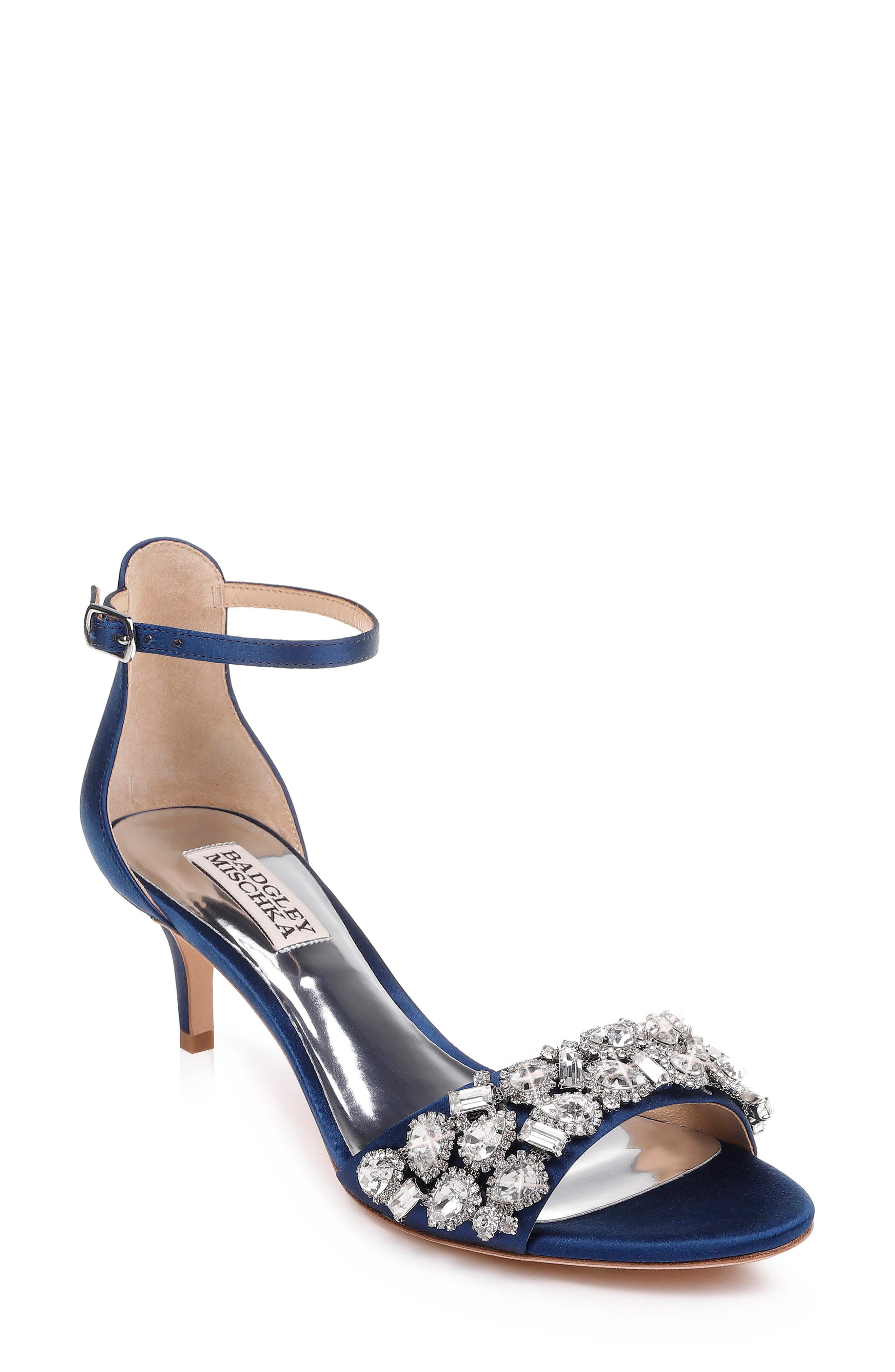 Badgley Mischka Lara Crystal Embellished Sandal- Blue