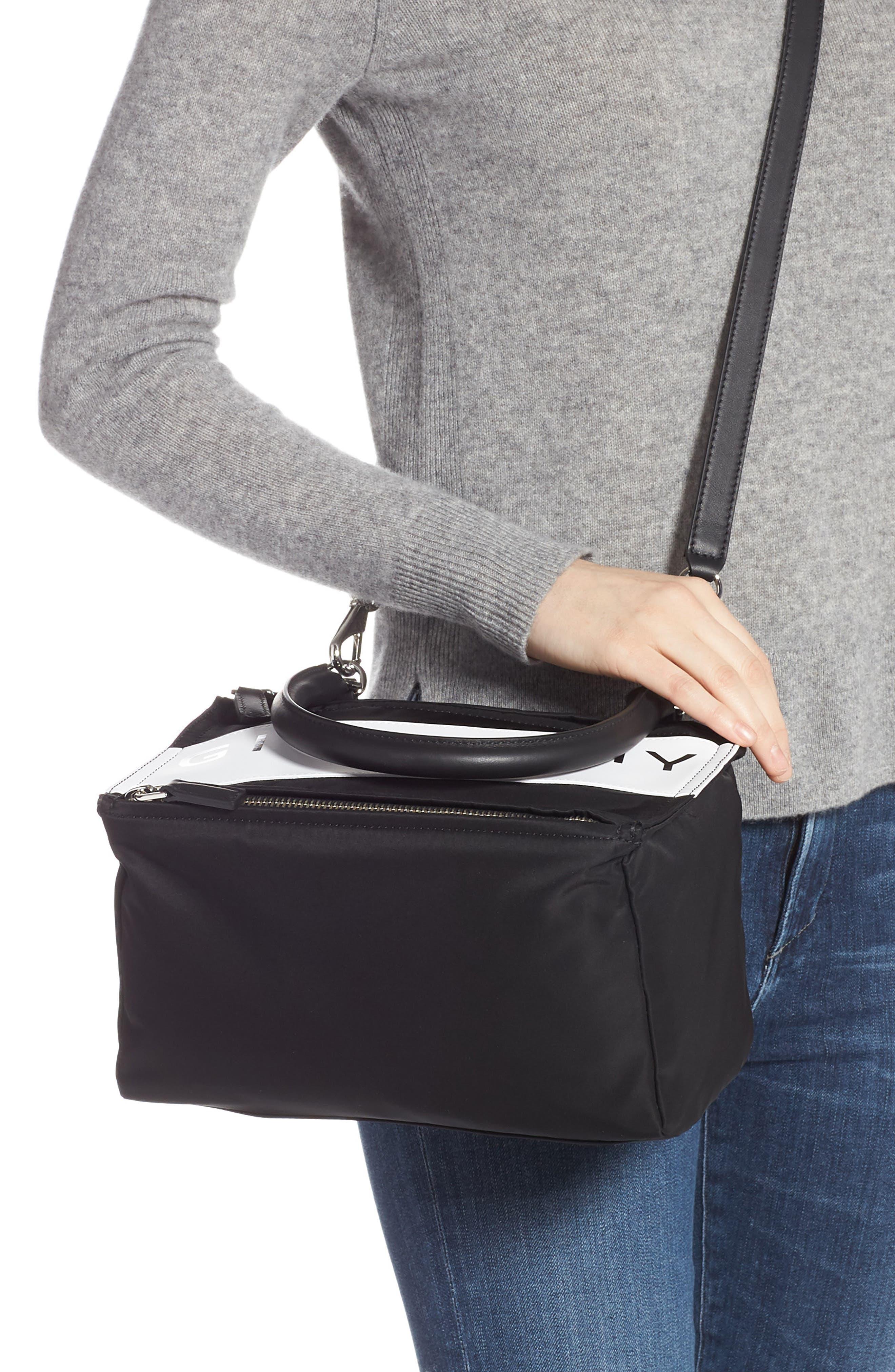 GIVENCHY,                             Small Pandora Logo Shoulder Bag,                             Alternate thumbnail 2, color,                             BLACK