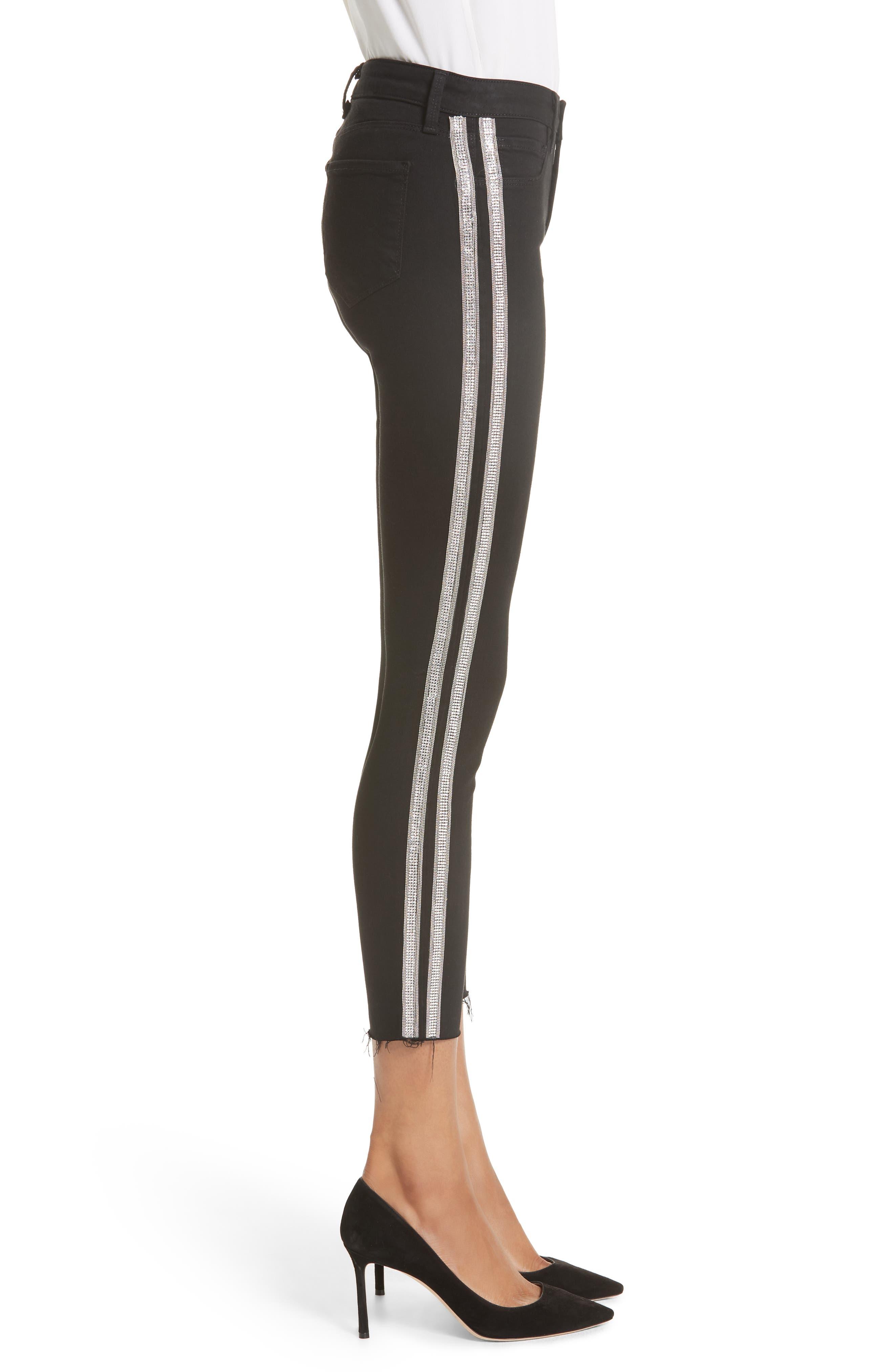 L'AGENCE,                             Margot Embellished Side Stripe Crop Skinny Jeans,                             Alternate thumbnail 3, color,                             NOIR