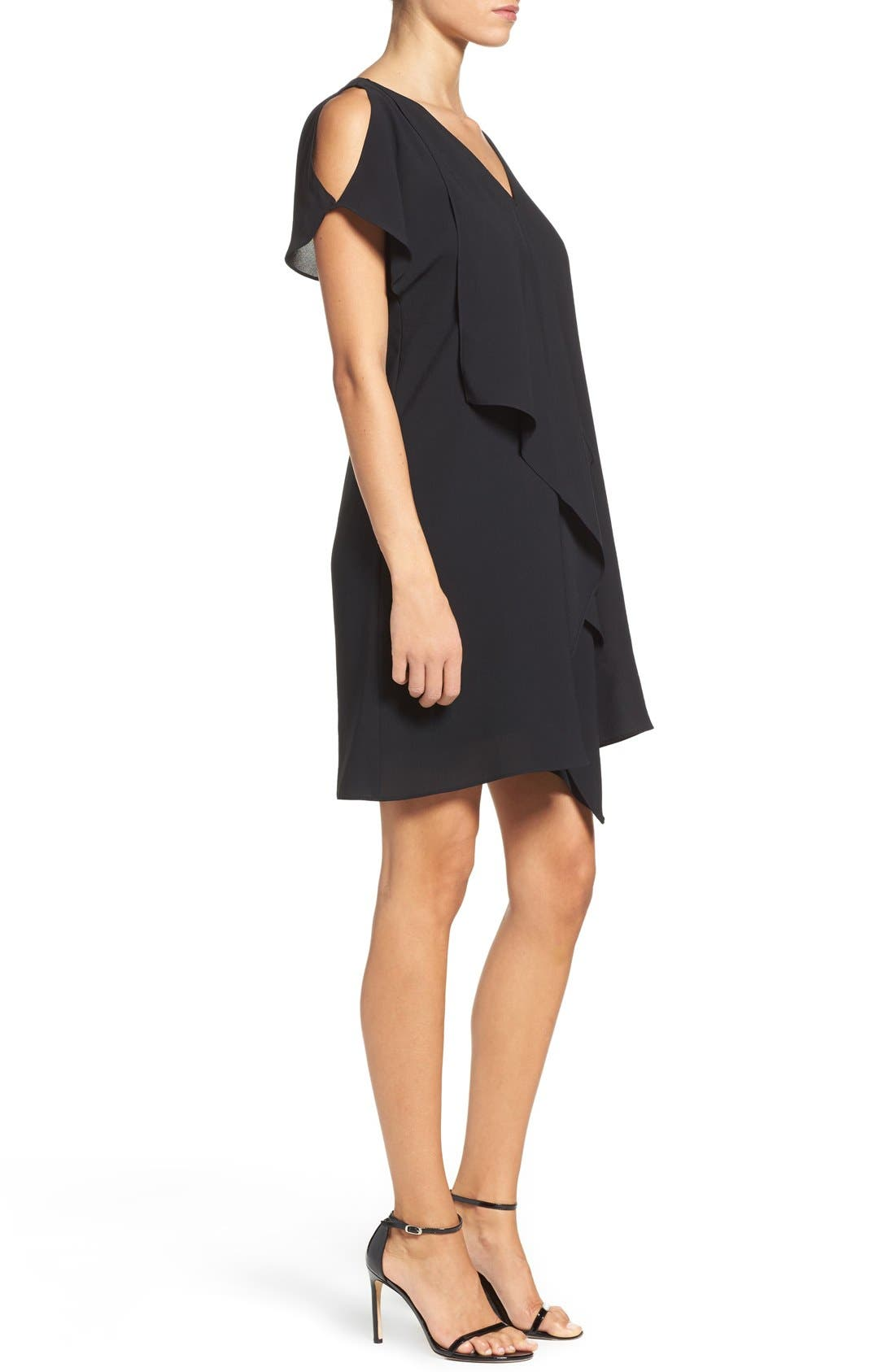 Cold Shoulder Draped Shift Dress,                             Alternate thumbnail 6, color,                             002