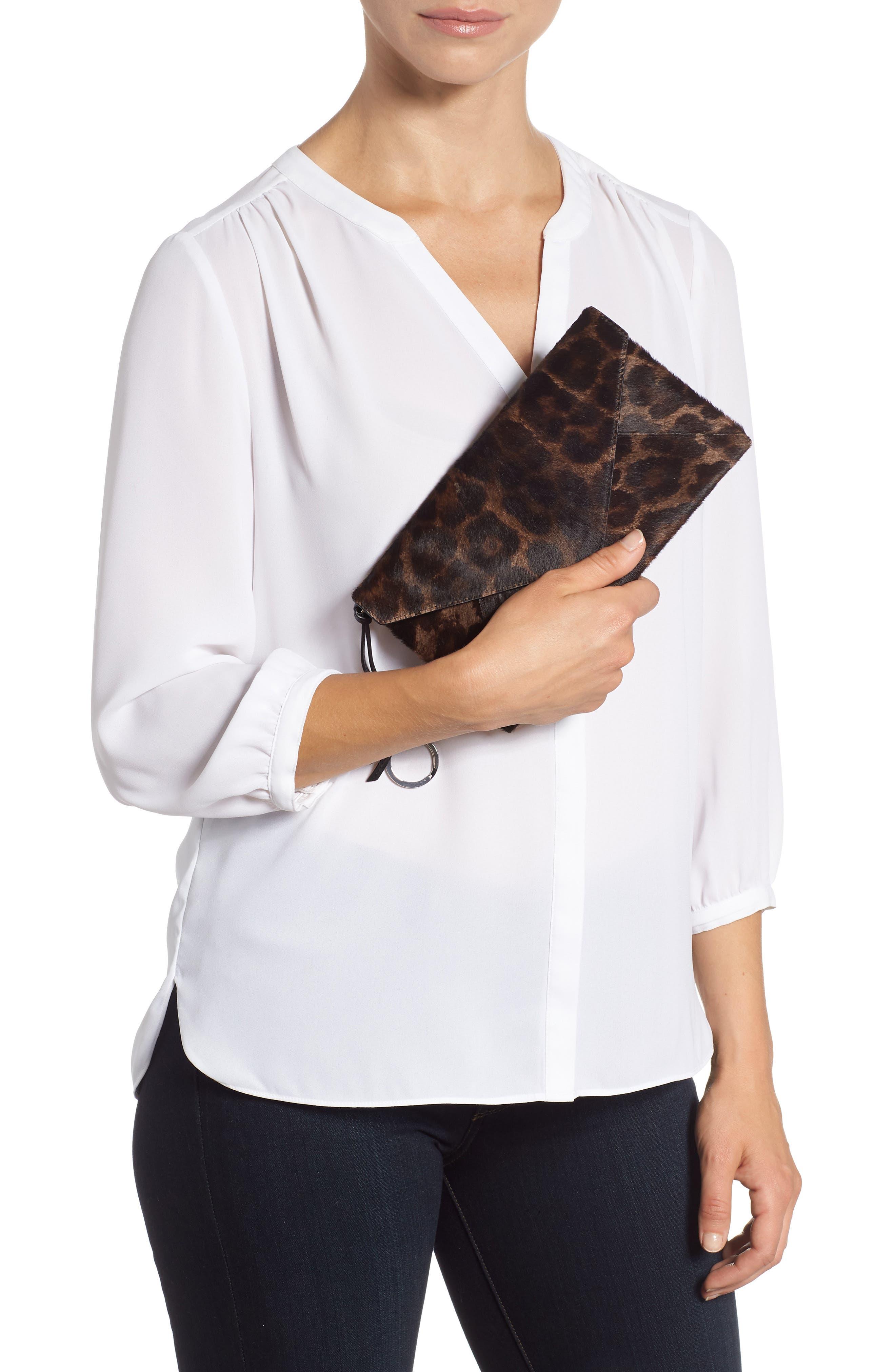 Voltaire Large Envelope Genuine Calf Hair Clutch,                             Alternate thumbnail 2, color,                             LEOPARD/ BLACK