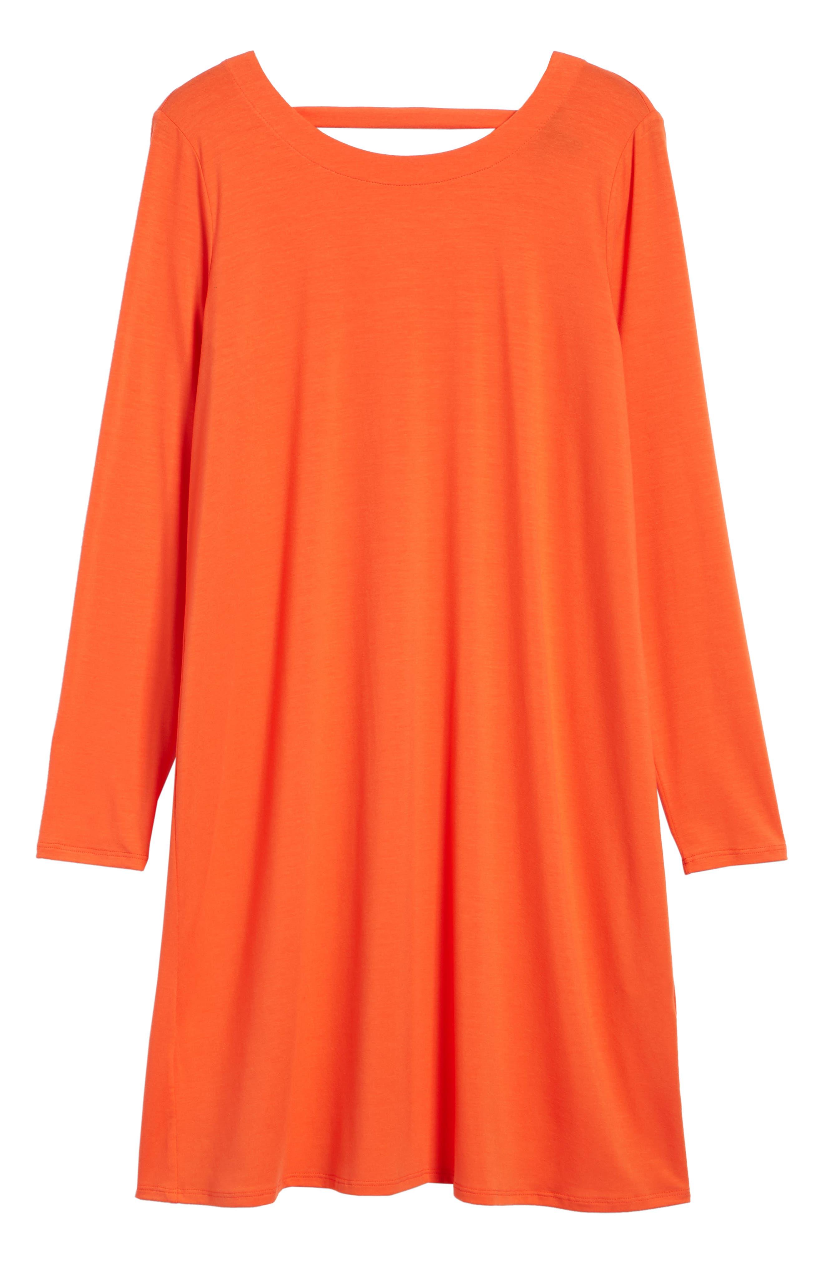 V-Back Stretch Tencel<sup>®</sup> Lyocell Shift Dress,                             Alternate thumbnail 13, color,