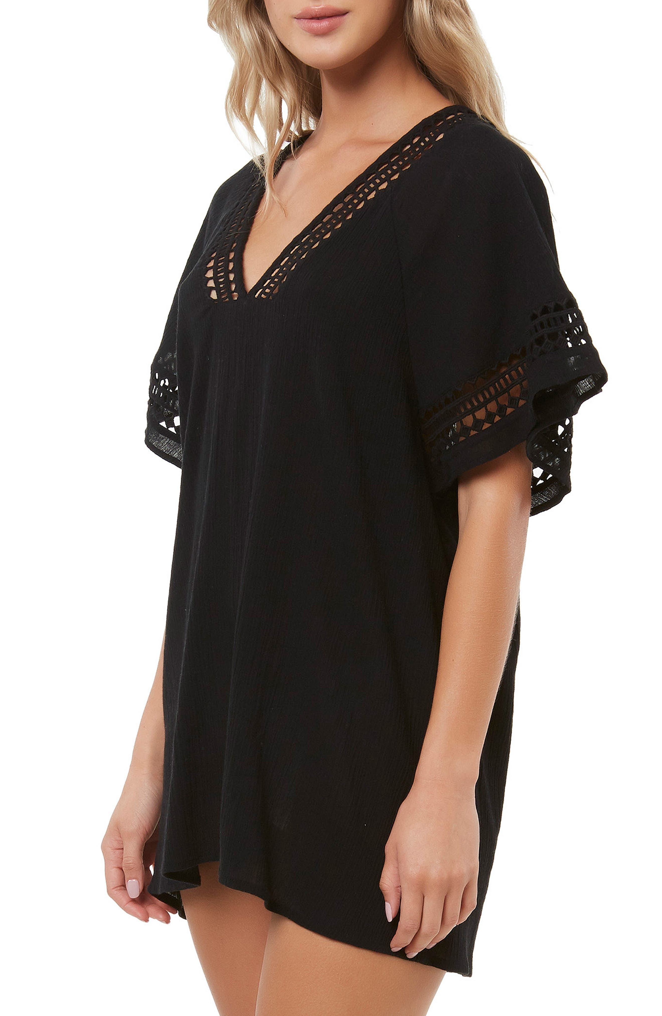 Celeste Cover-Up Dress,                             Alternate thumbnail 3, color,                             BLACK