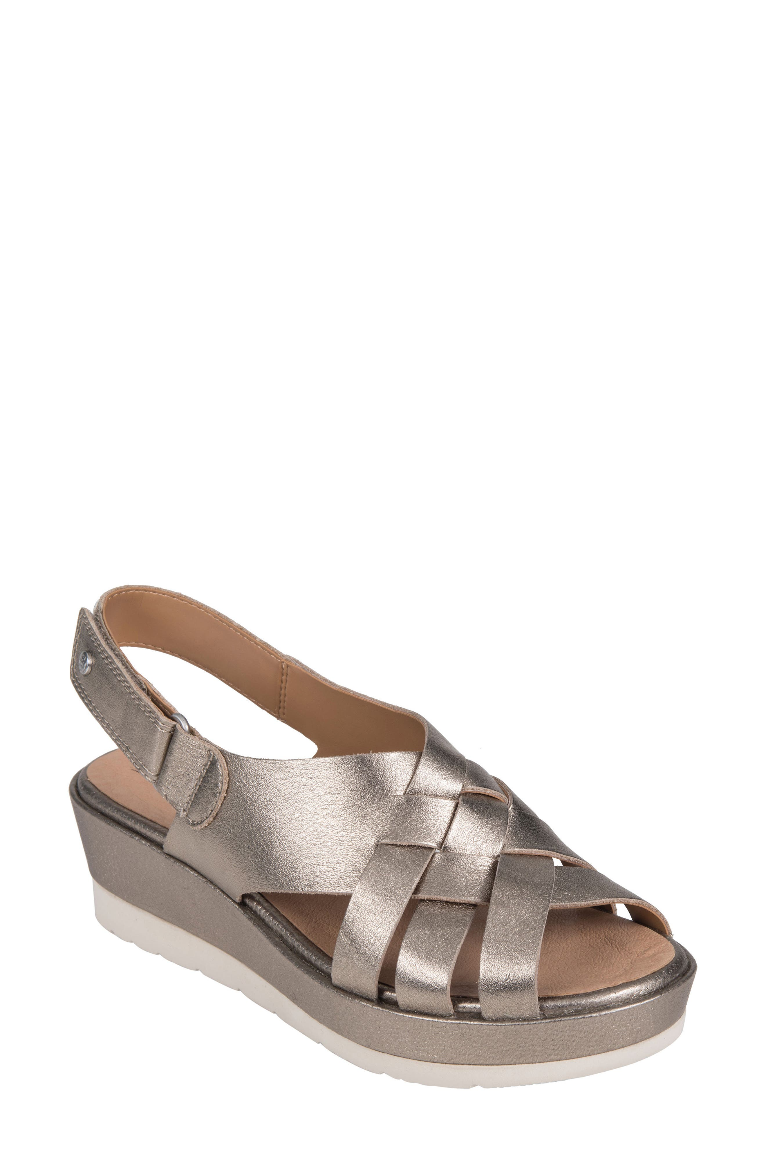 Sunflower Wedge Sandal,                             Main thumbnail 1, color,                             WASHED GOLD METALLIC LEATHER