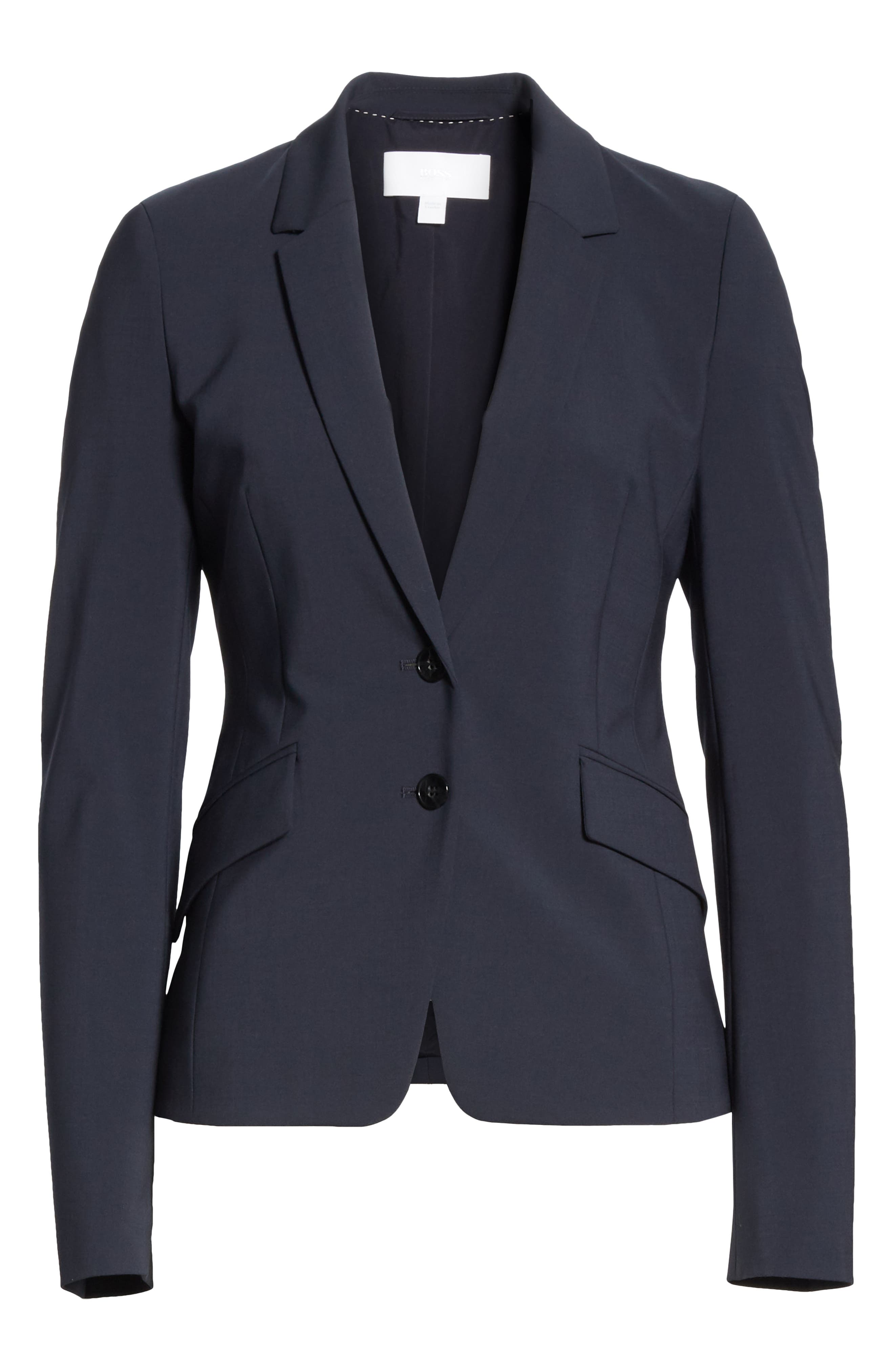 BOSS,                             Jiletara Stretch Wool Jacket,                             Alternate thumbnail 6, color,                             NAVY