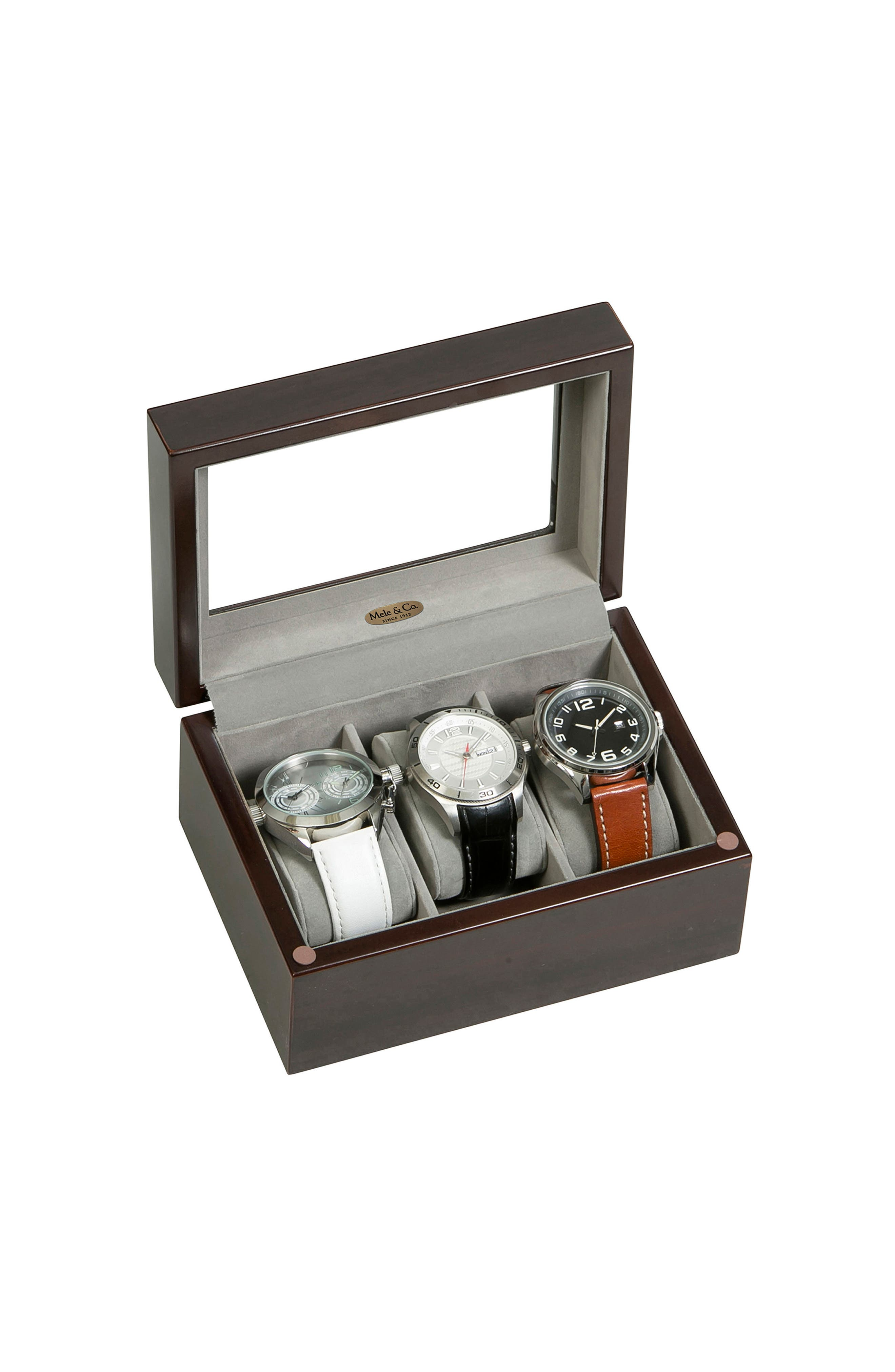 Granby Glass Top Watch Box,                             Alternate thumbnail 5, color,                             BROWN