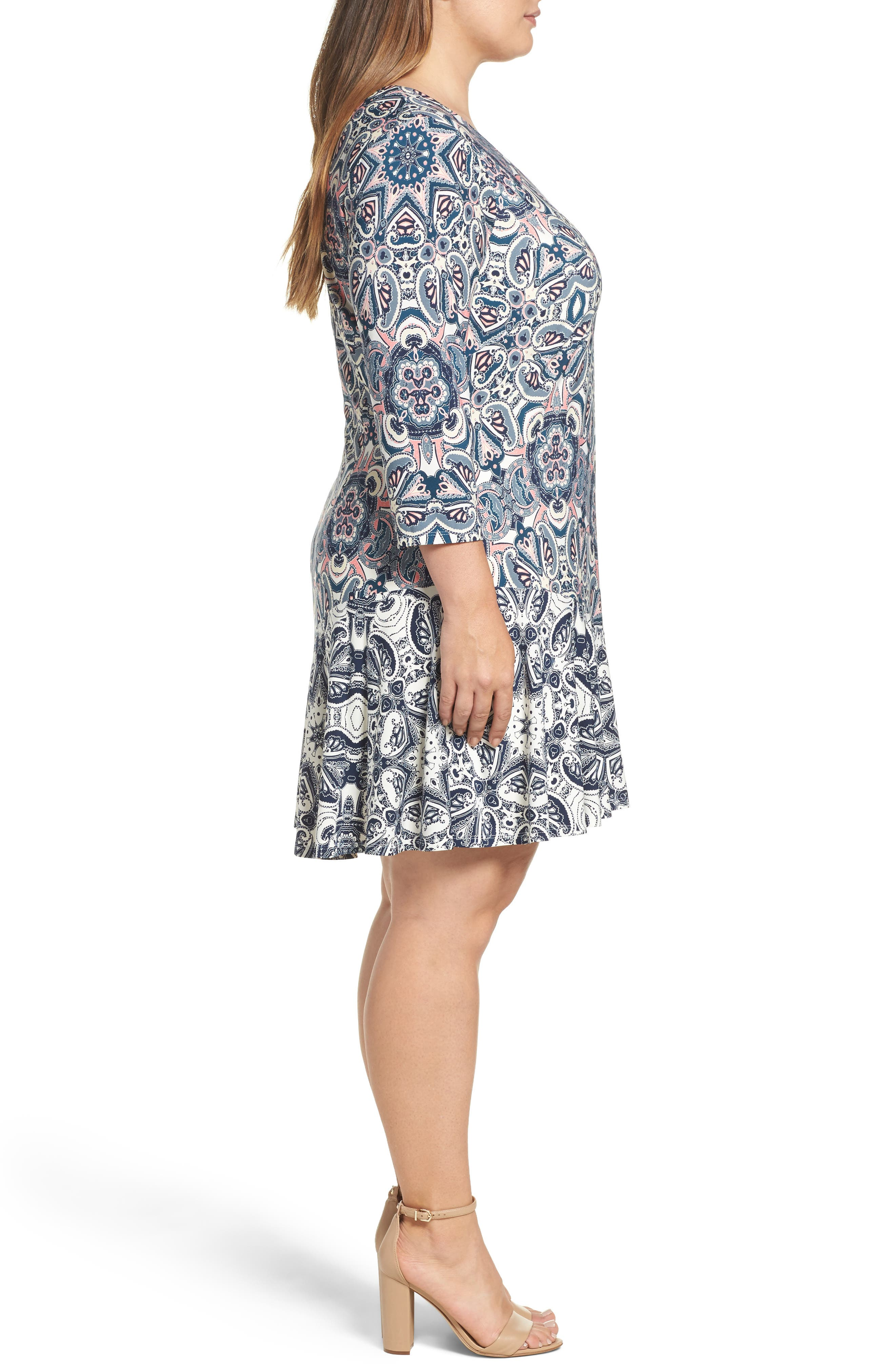 Mixed Paisley A-Line Dress,                             Alternate thumbnail 3, color,                             404