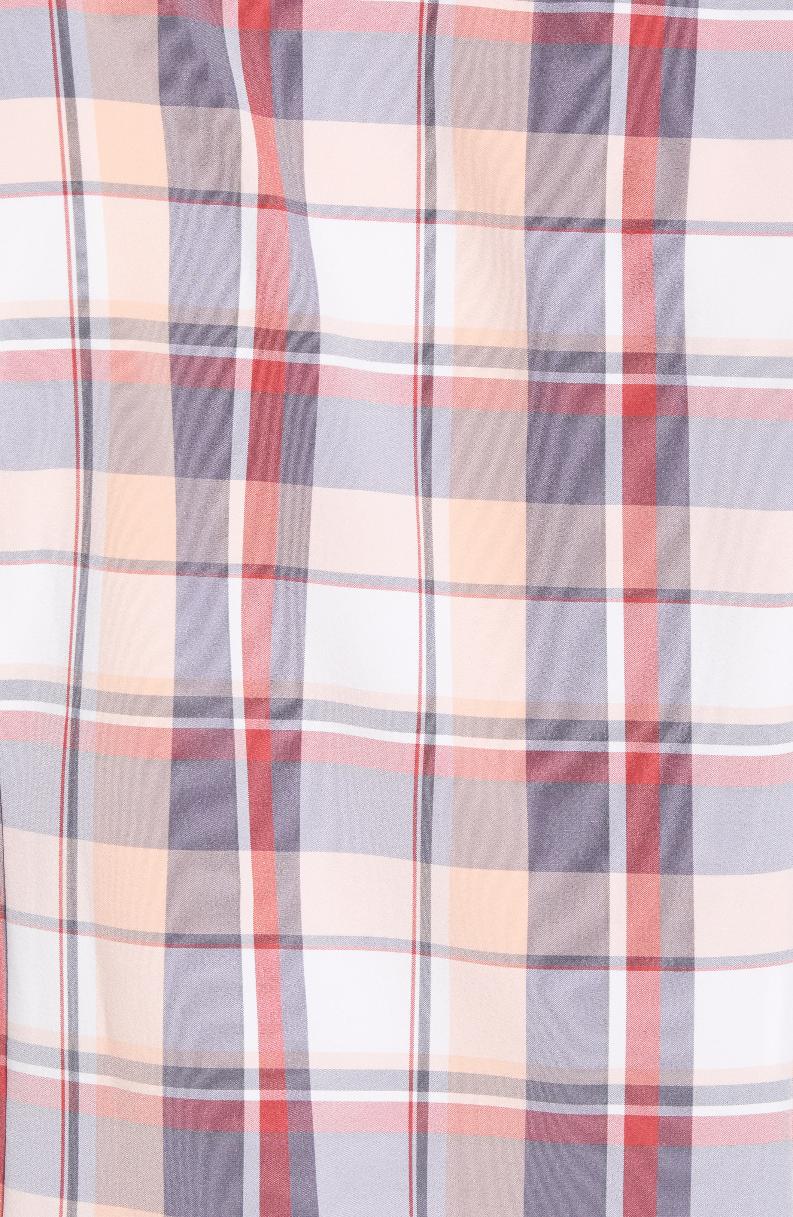 Brazos Slim Fit Madras Plaid Performance Sport Shirt,                             Alternate thumbnail 5, color,                             PEACH