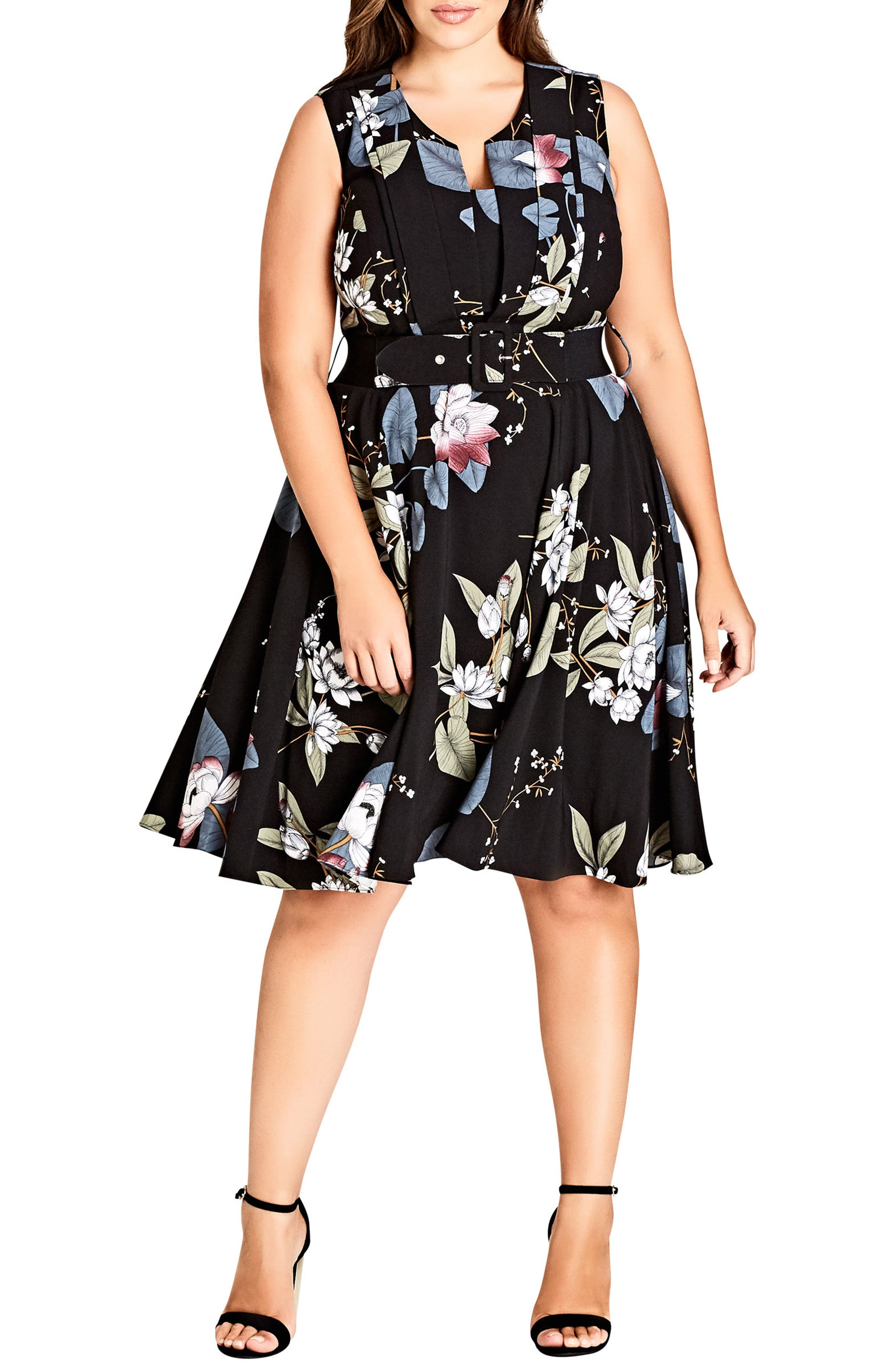 Blossom Fit & Flare Dress,                         Main,                         color, ORIENTAL