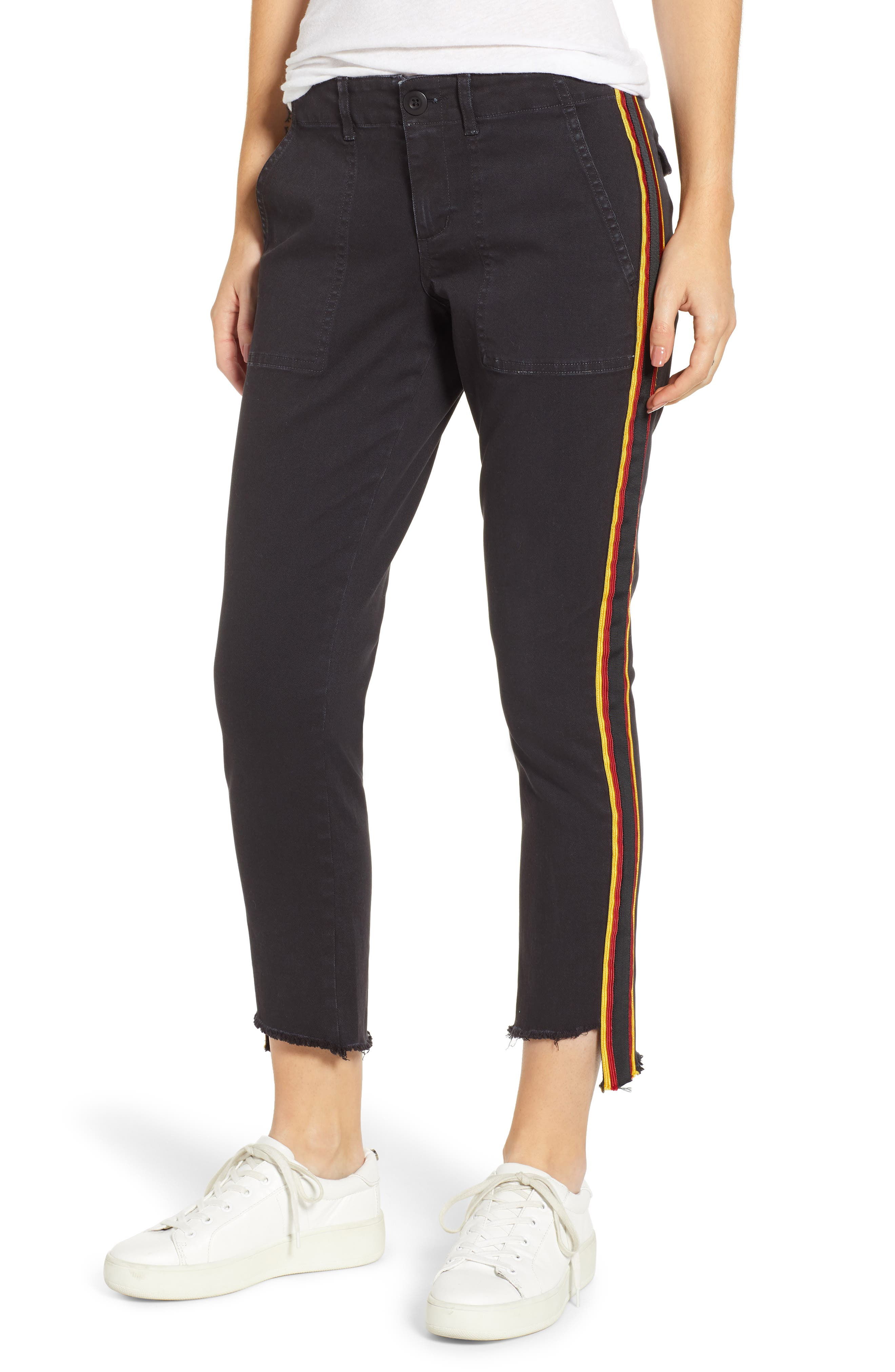 Uniform Stripe Step Hem Pants,                             Main thumbnail 1, color,                             VINTAGE BLACK