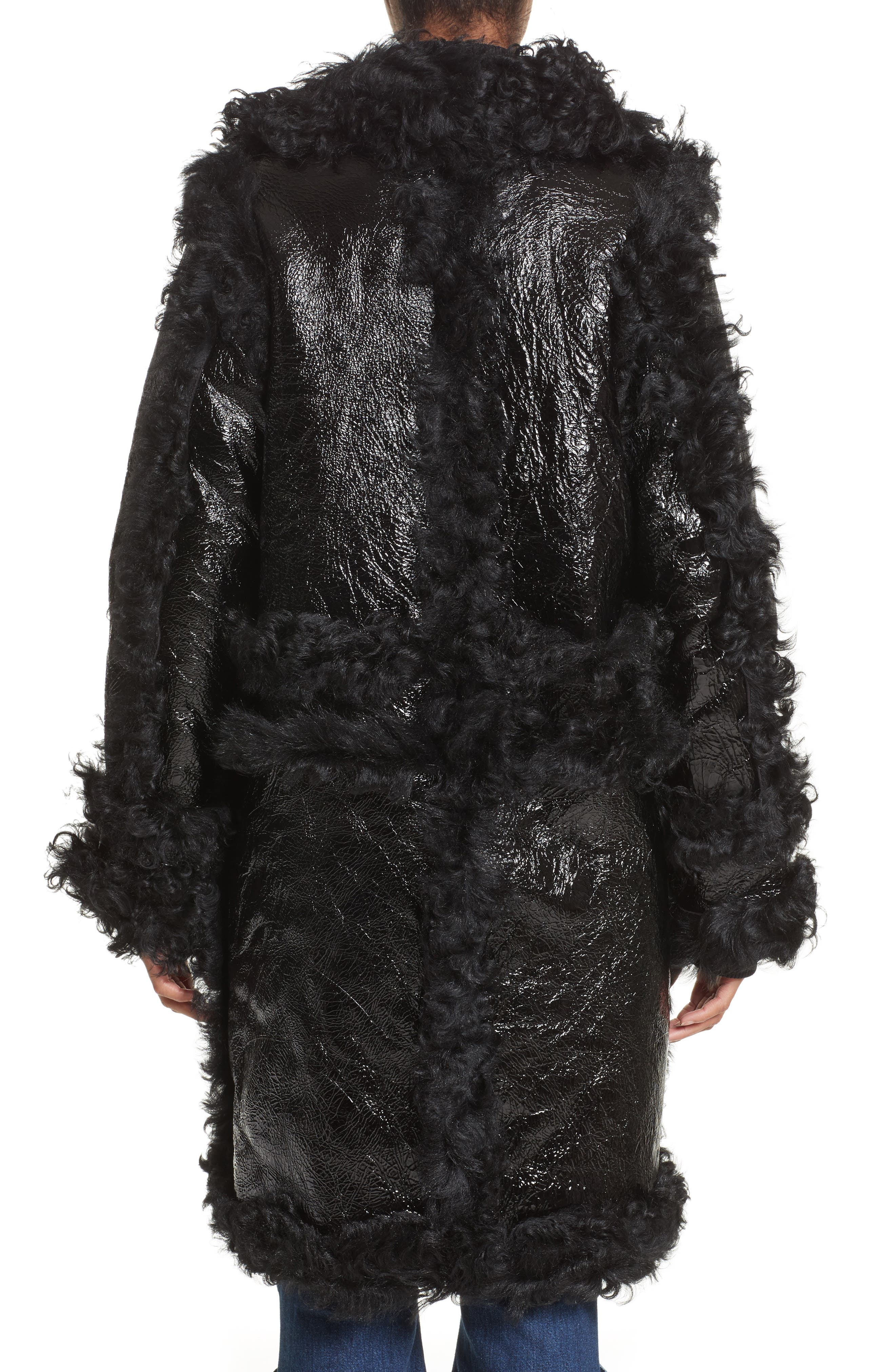 Marques'Almeida Foiled Genuine Shearling Coat,                             Alternate thumbnail 2, color,                             001