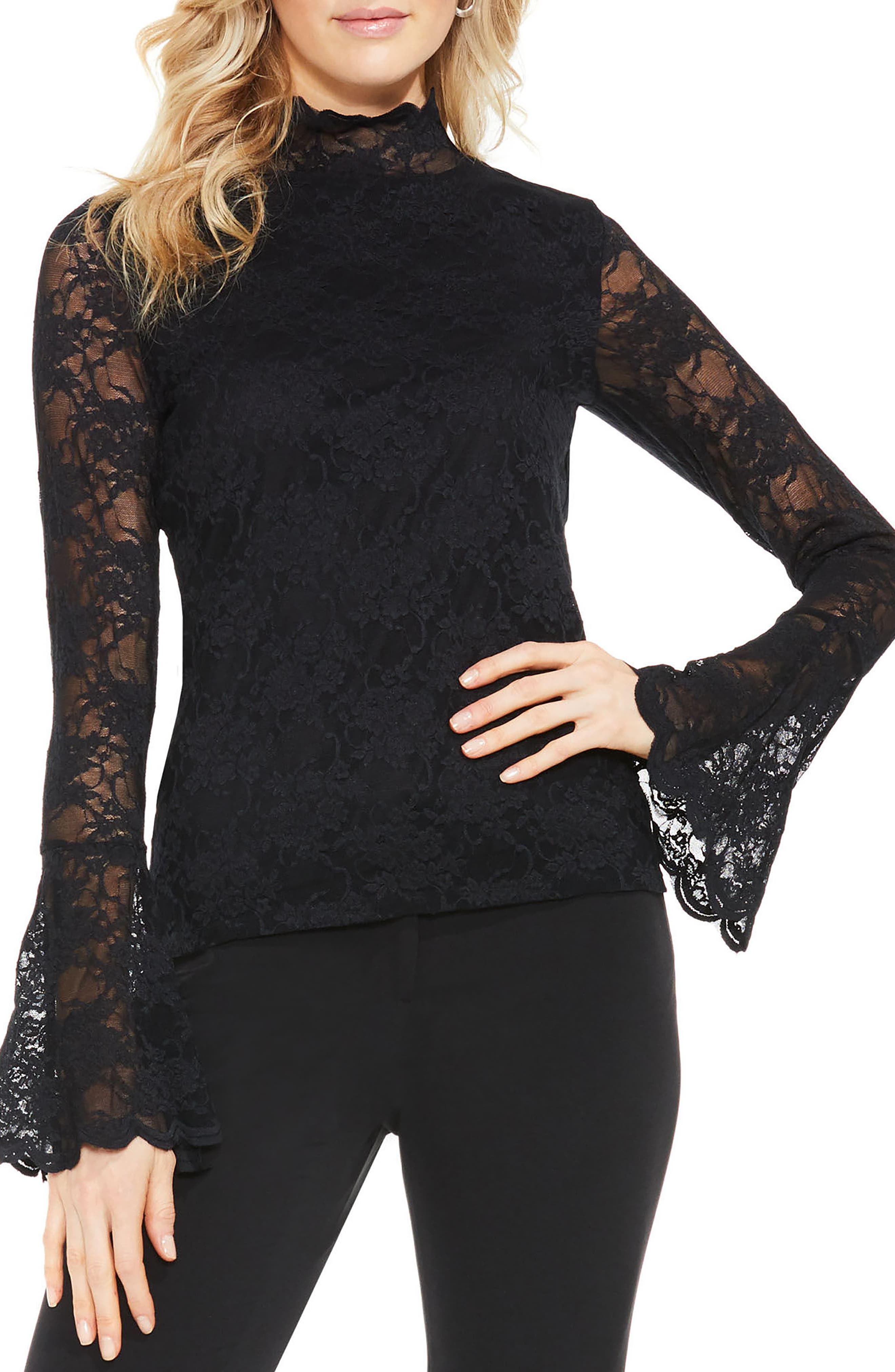 Bell Sleeve Lace Top,                         Main,                         color, 006